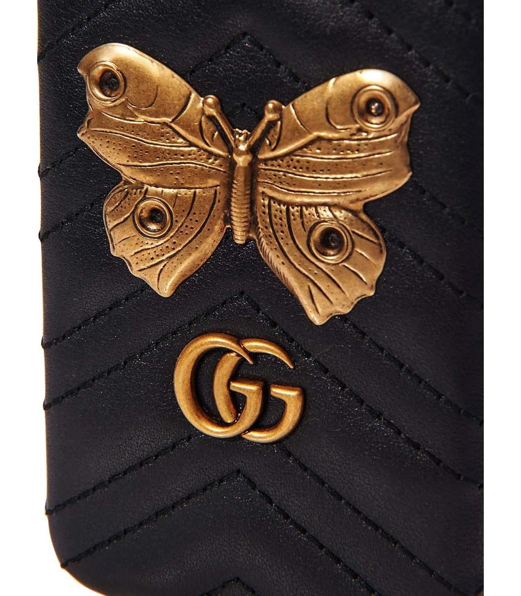 b7a9b5a0827 Lyst - Gucci Black Gg Marmont Moth Stud Iphone 7 Case in Black