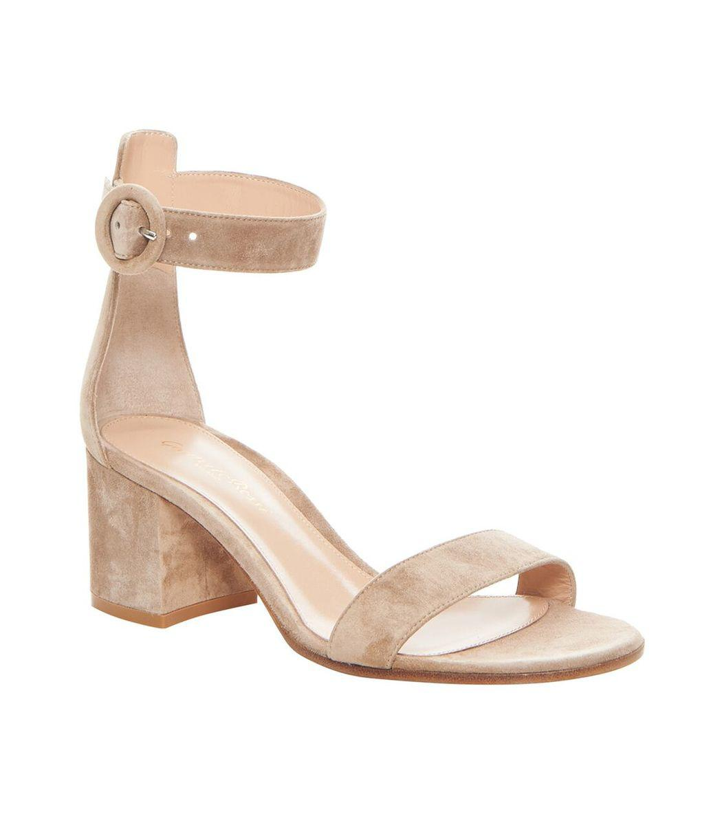0c5e7fb762bd2 Gianvito Rossi - Natural Nude Suede Heeled Sandal - Lyst. View fullscreen