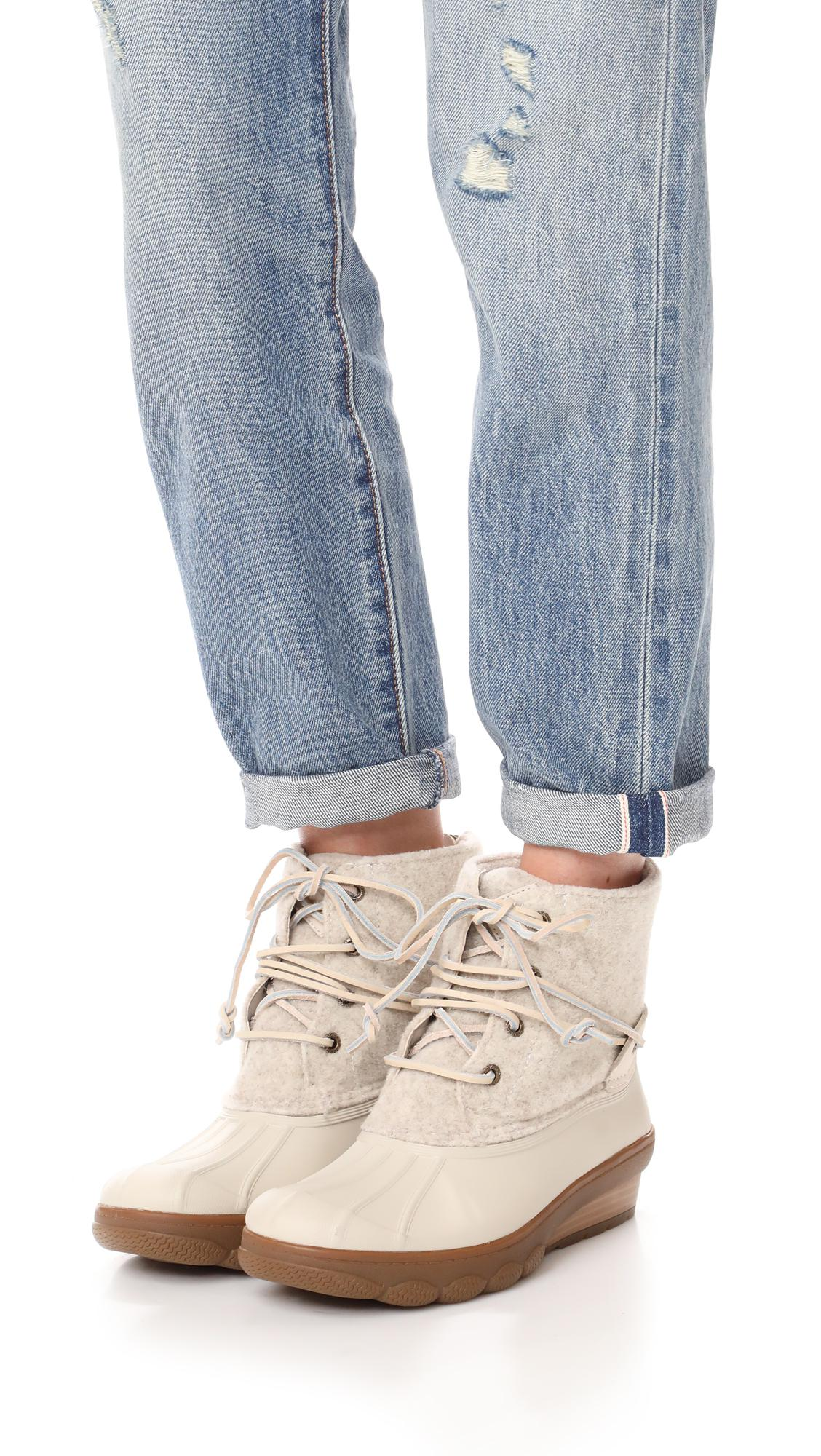 d81796554bfd Lyst - Sperry Top-Sider Saltwater Wedge Tide Wool Booties in White