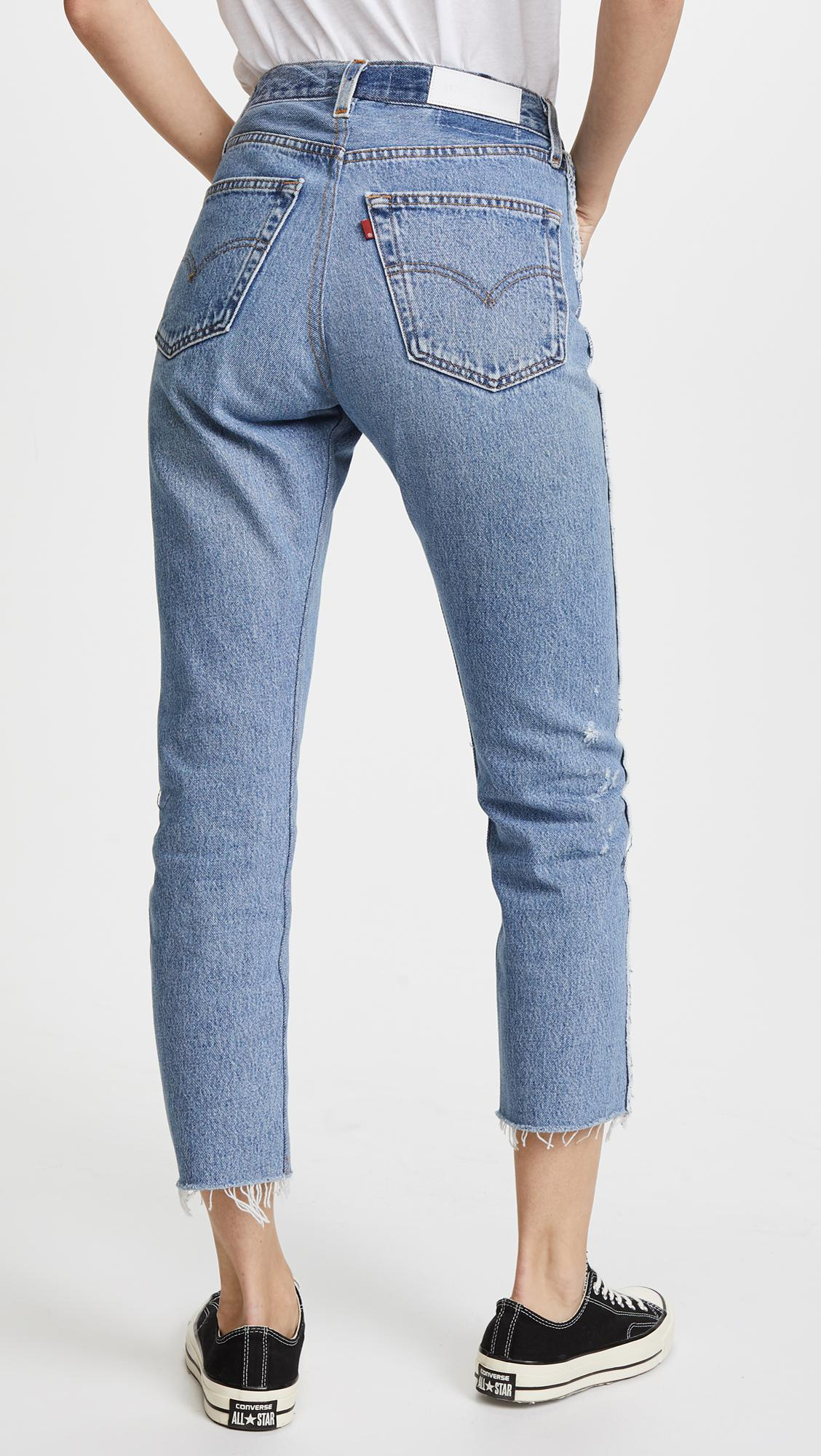 f808dd1dd2de1 Lyst - RE DONE X Levi s High Rise Relaxed Zip Crop Jeans in Blue