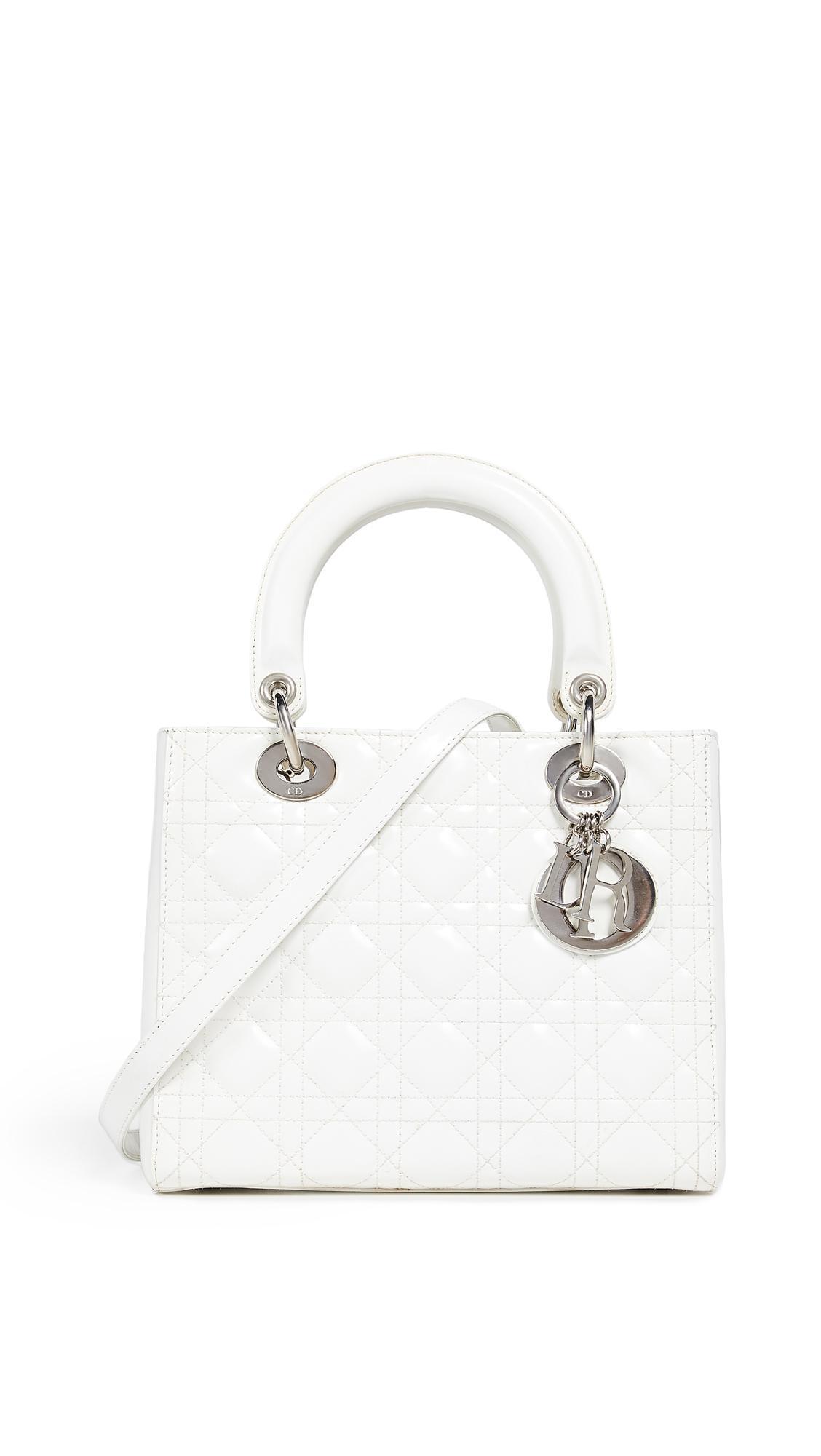 2b377877f00 Lyst - What Goes Around Comes Around Dior White Patent Lady Dior ...