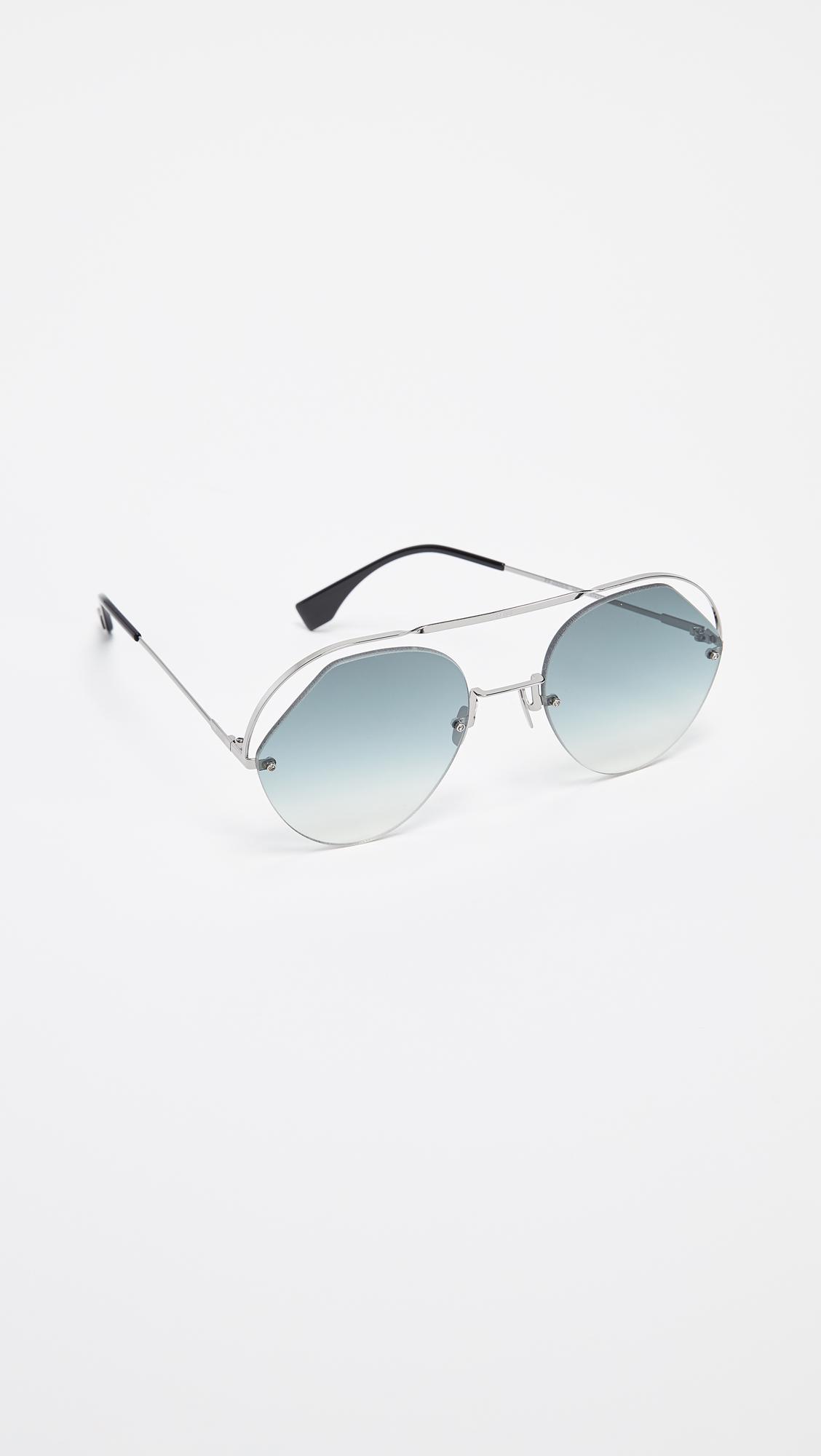 c2093253ae2 Fendi - Gray Cut Out Aviator Sunglasses - Lyst. View fullscreen