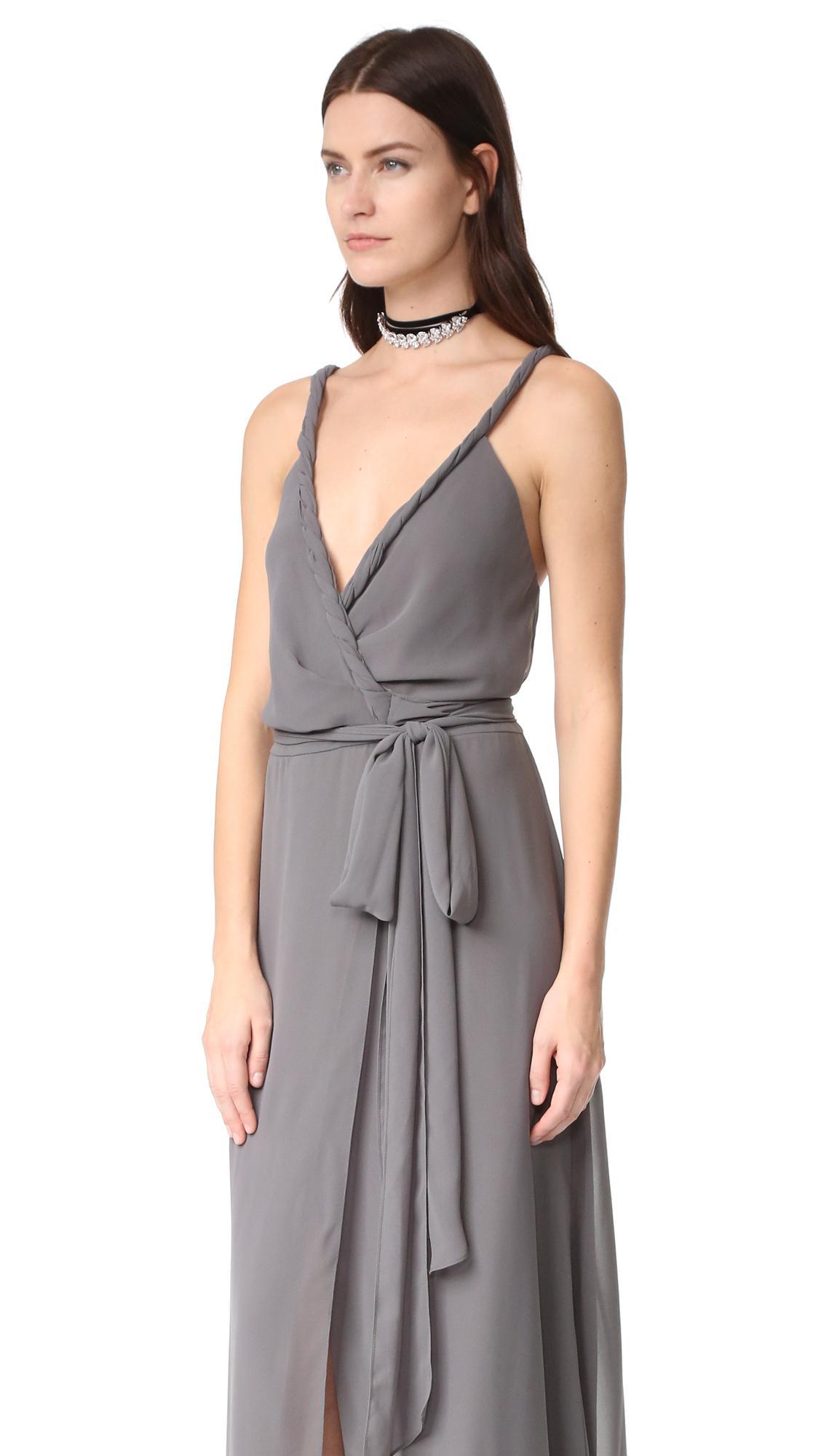 Joanna August The Parker Twist Strap Wrap Dress In Gray Lyst