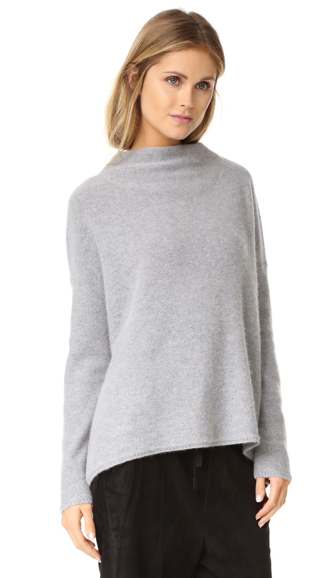 6e2e0f6c52066b Vince Boiled Cashmere Funnel Neck Sweater in Gray - Lyst