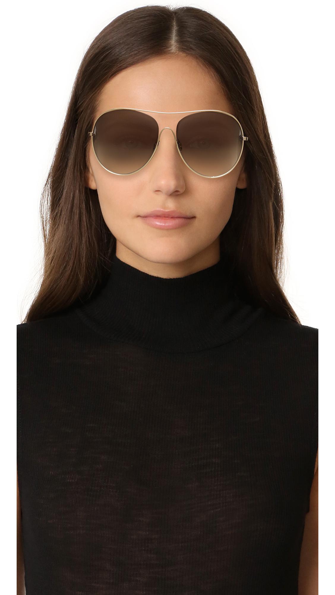 52fece503 Victoria Beckham Loop Round Aviator Sunglasses in Metallic - Lyst
