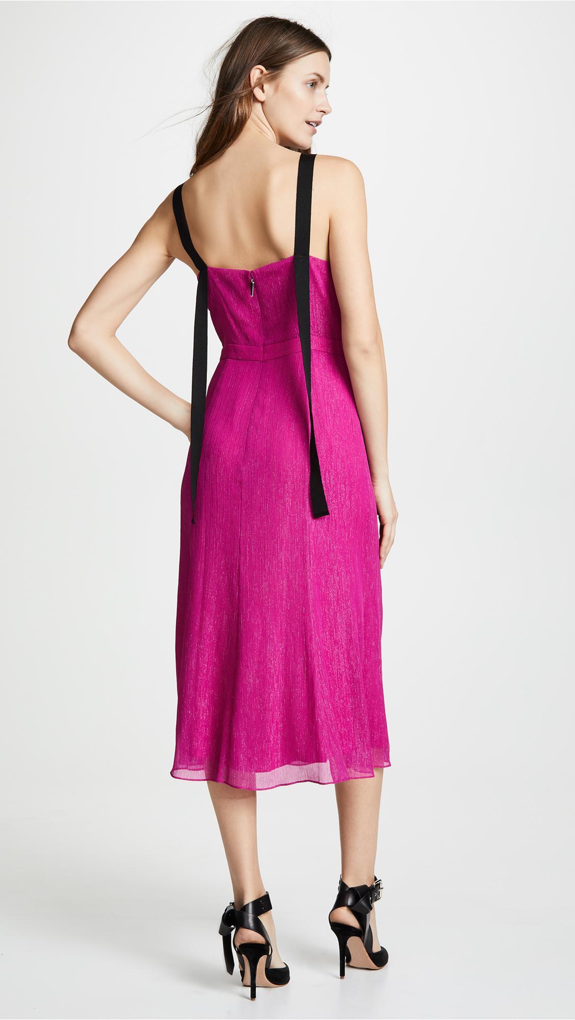 Prabal Gurung - Pink Deep V Silk Dress With Button Detail - Lyst. View  fullscreen f746e12ed