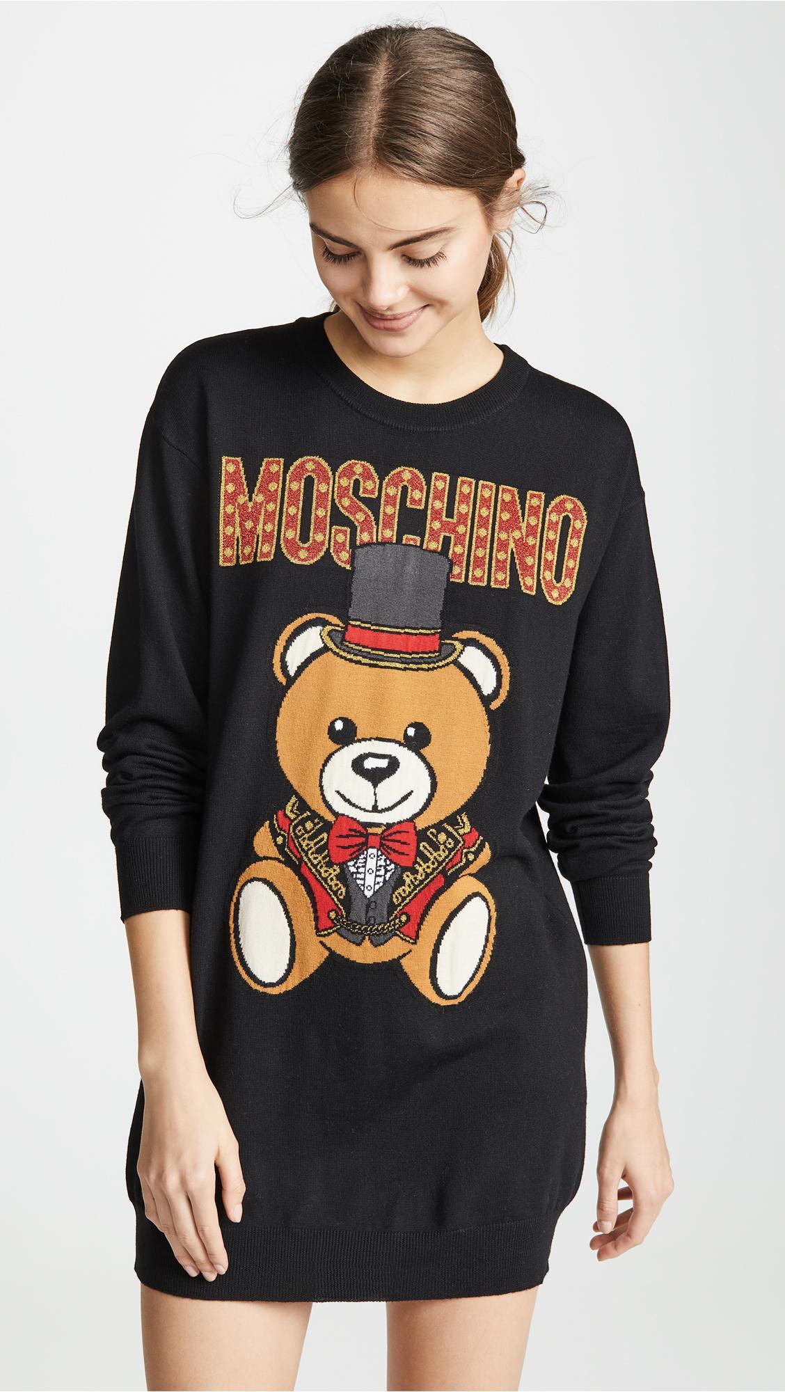 86448e4b541 Lyst - Moschino Top Hat Bear Sweatshirt Dress in Black
