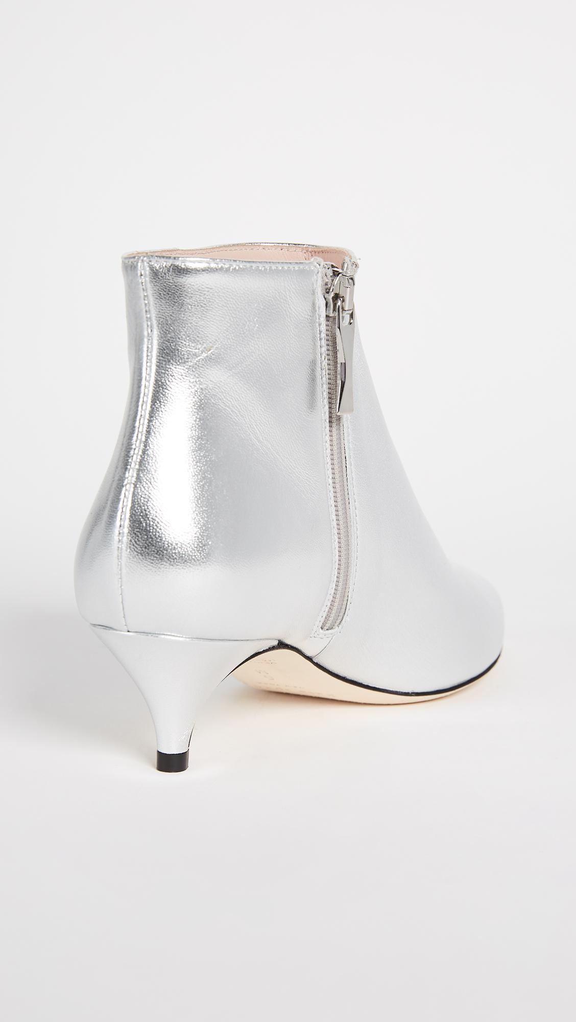 a969a0ee640f Lyst - Kate Spade Olly Kitten Heel Ankle Booties in Metallic