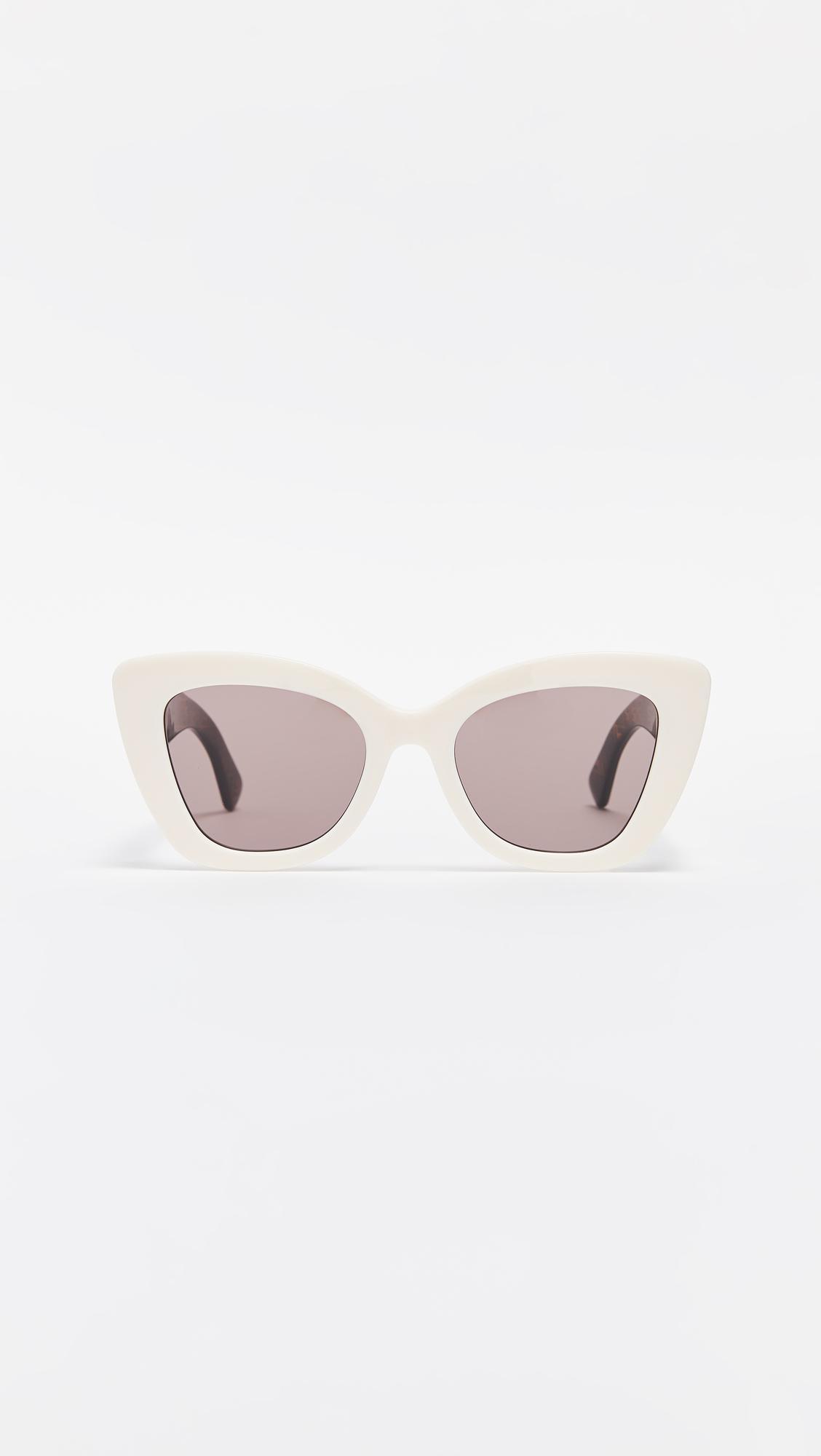 ad6fd069a4f Lyst - Fendi Narrow Cat Eye Logo Sunglasses in White