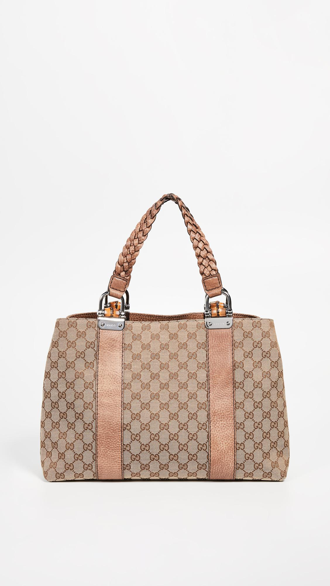 a6fb257ec81b2d Lyst - What Goes Around Comes Around Gucci Brown Canvas Bamboo Bar ...