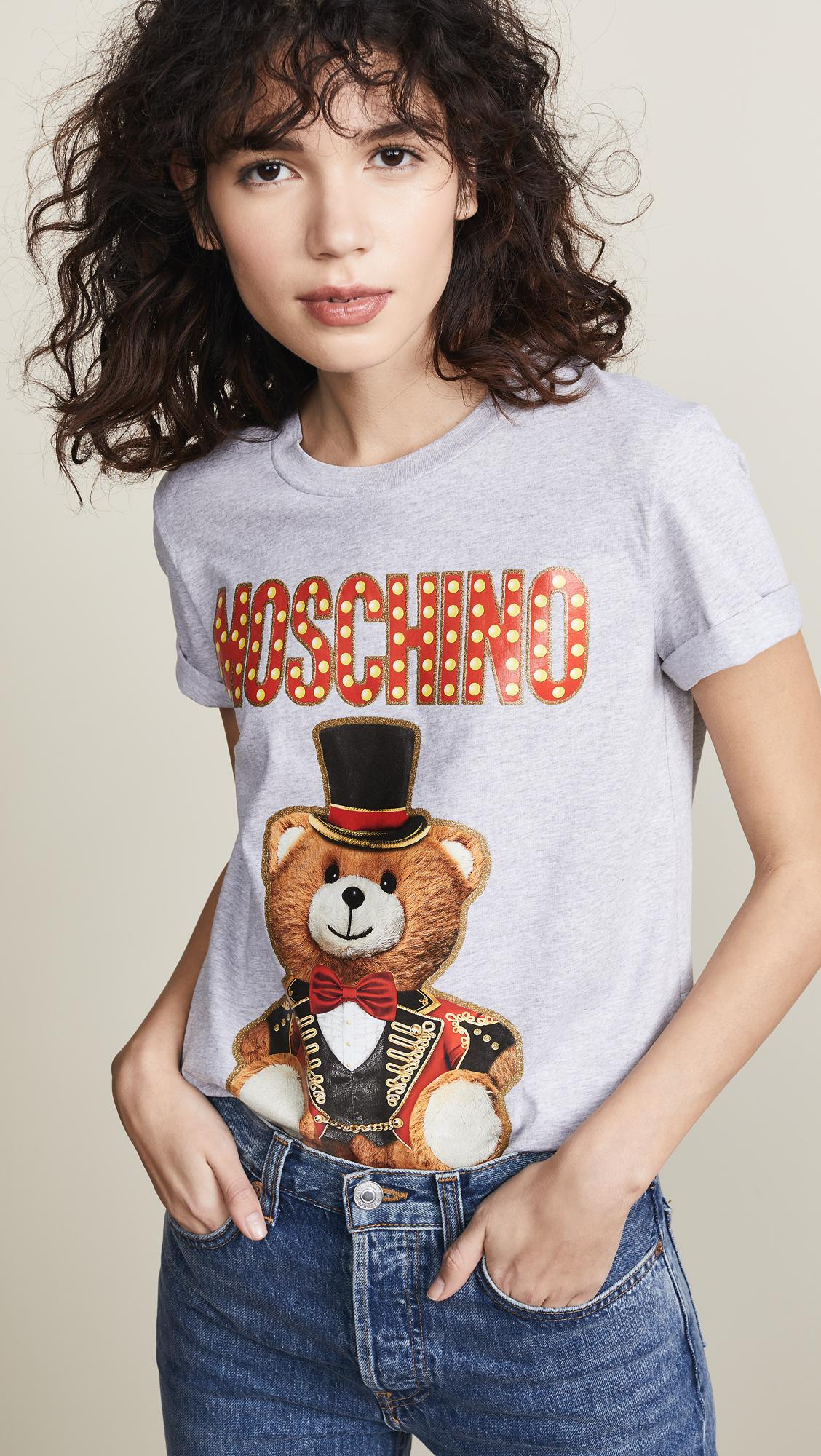 6650d095c52 Moschino Tophat Bear Tee in Gray - Lyst