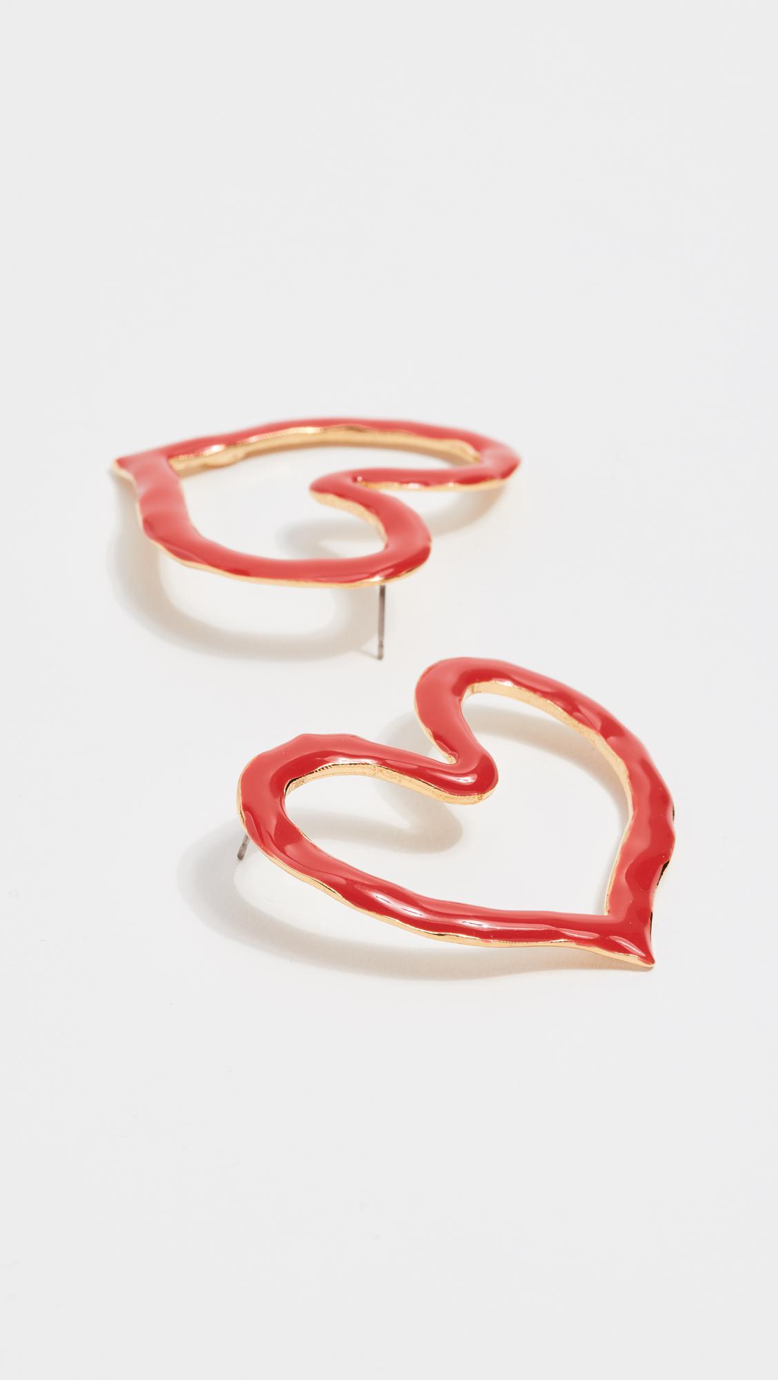 painted heart earrings - Red Oscar De La Renta CschW