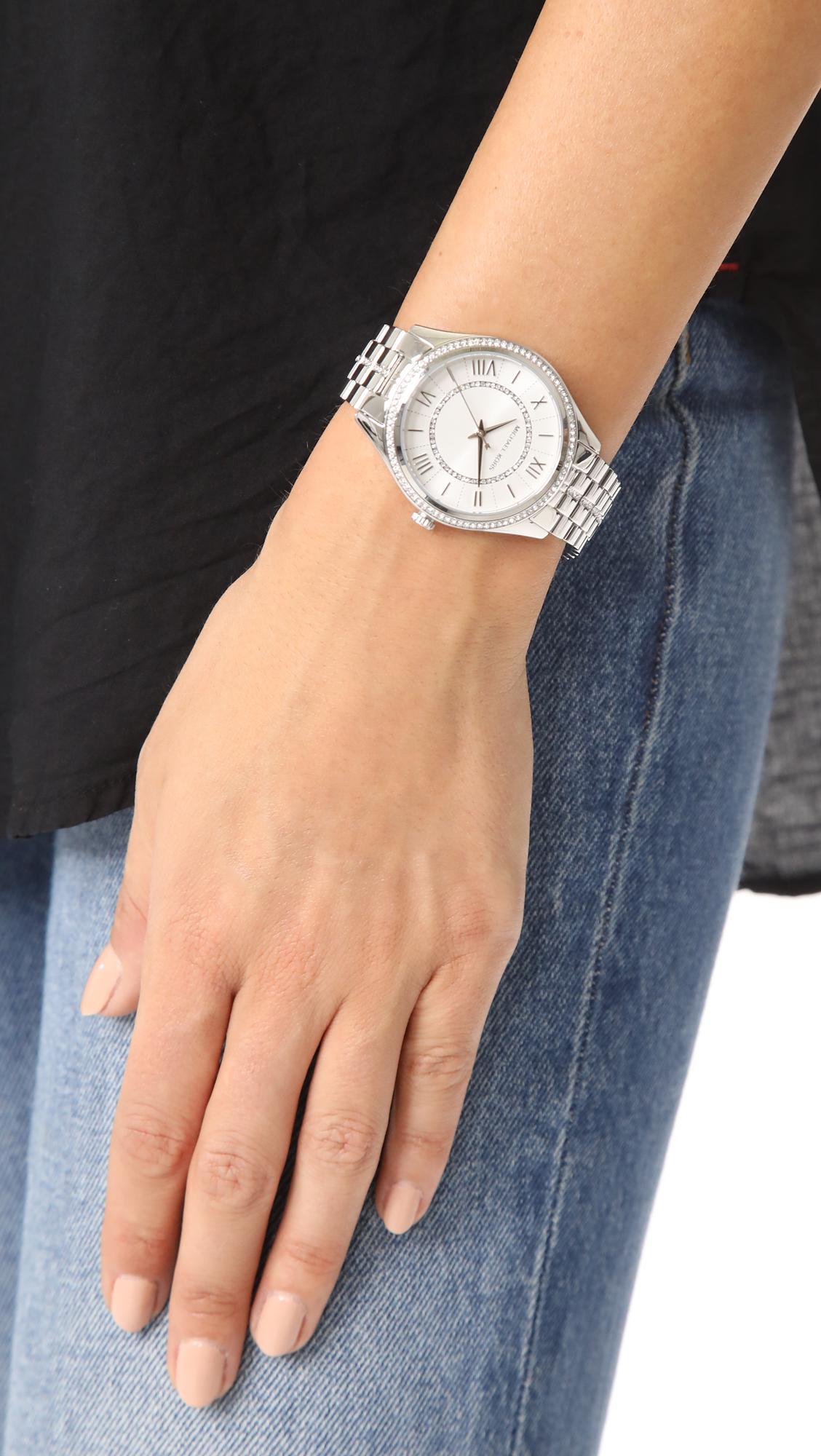 f88e056d82c6 Lyst - Michael Kors Lauryn Watch in Metallic