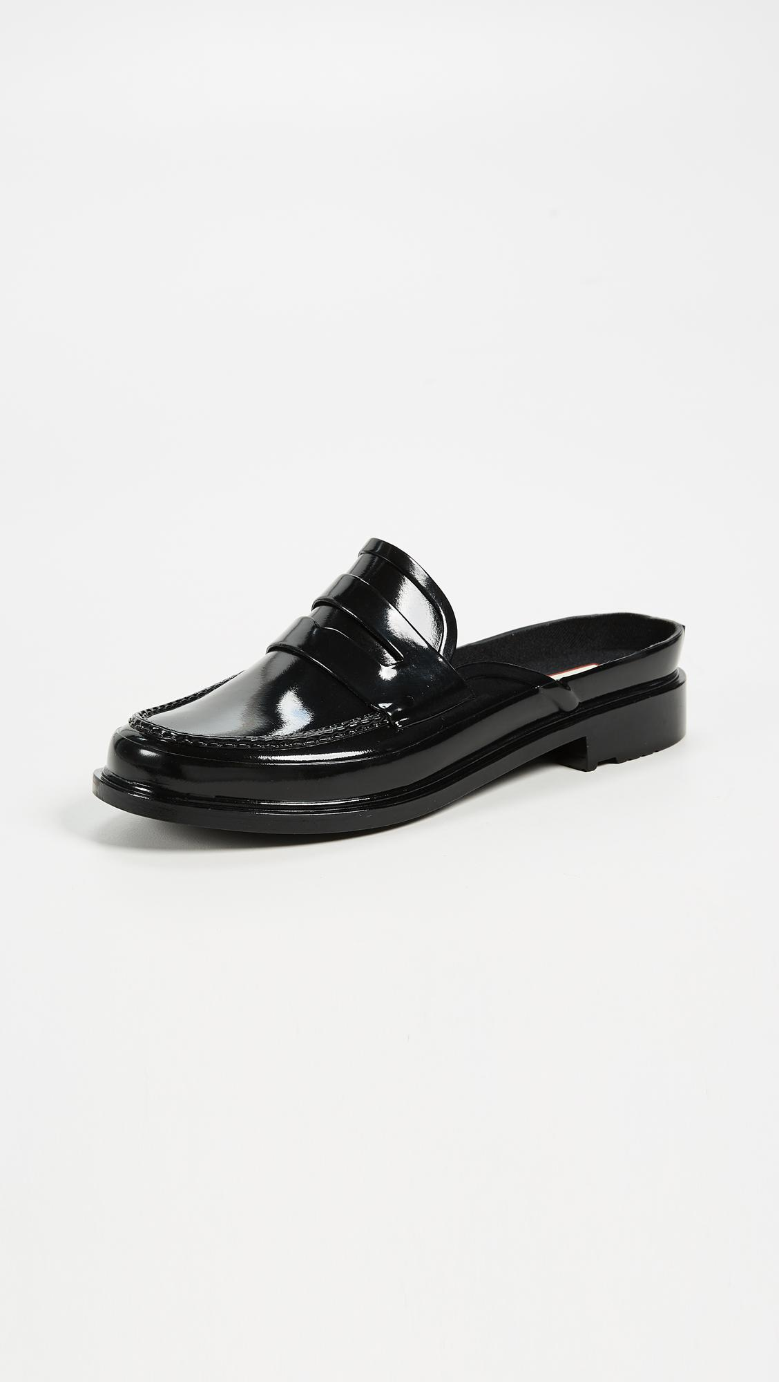 bcbaef2a47c HUNTER Backless Gloss Penny Loafers in Black - Lyst