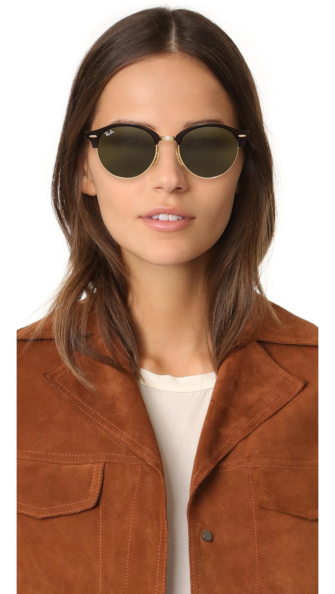 9e61c48007 Ray-Ban - Green Rb4246 Clubmaster Round Sunglasses - Lyst. View fullscreen