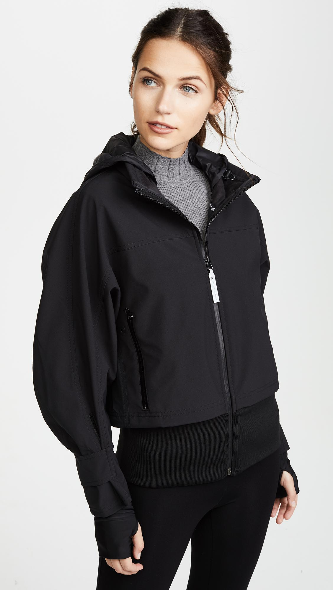 lyst adidas by stella mccartney run trail jacket in black. Black Bedroom Furniture Sets. Home Design Ideas