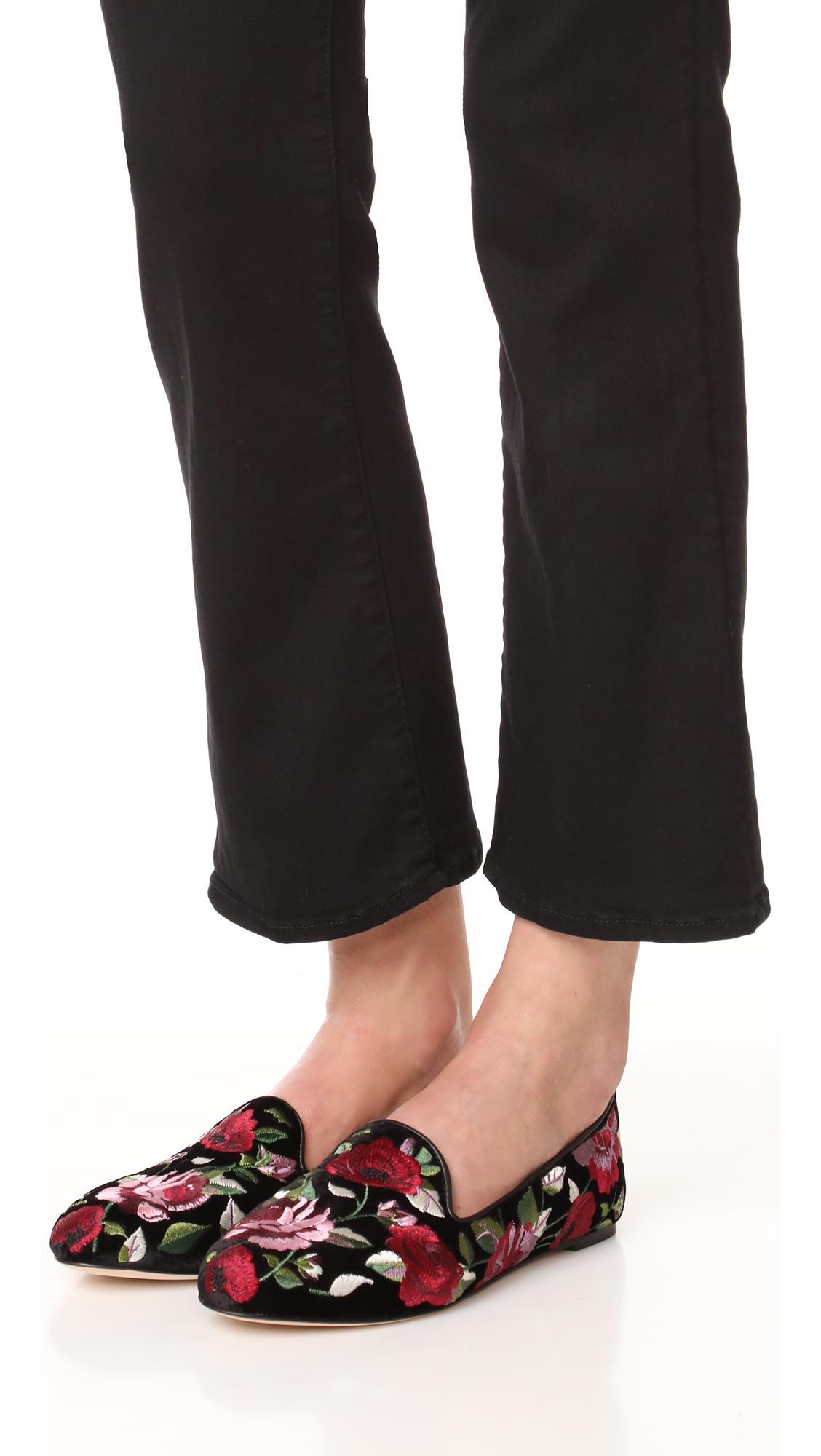 138bf7b63493 Lyst - Kate Spade Swinton Floral Slip On Flats in Black