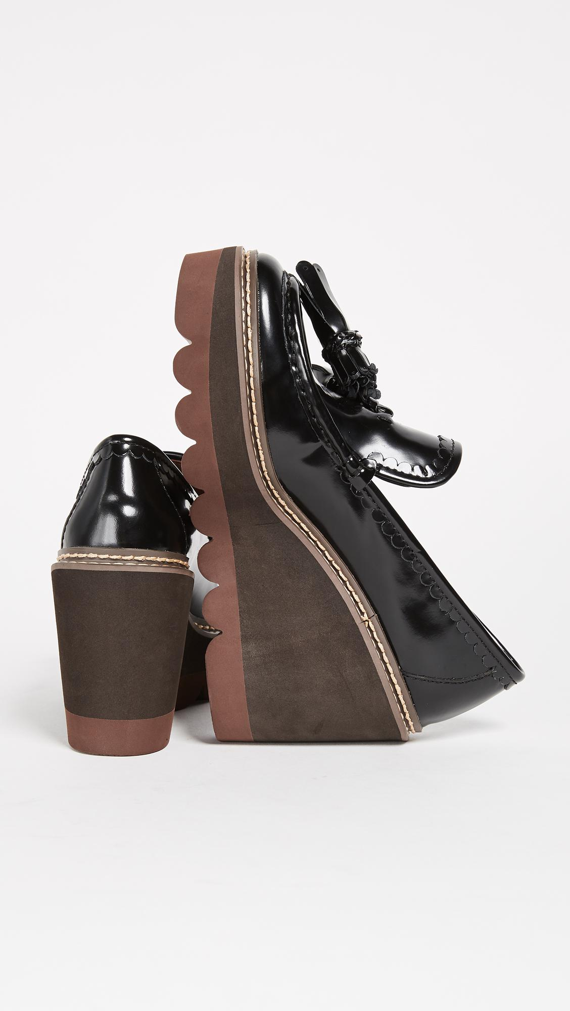 a796a391e5f60 Lyst - See By Chloé Zina Wedge Loafers in Black