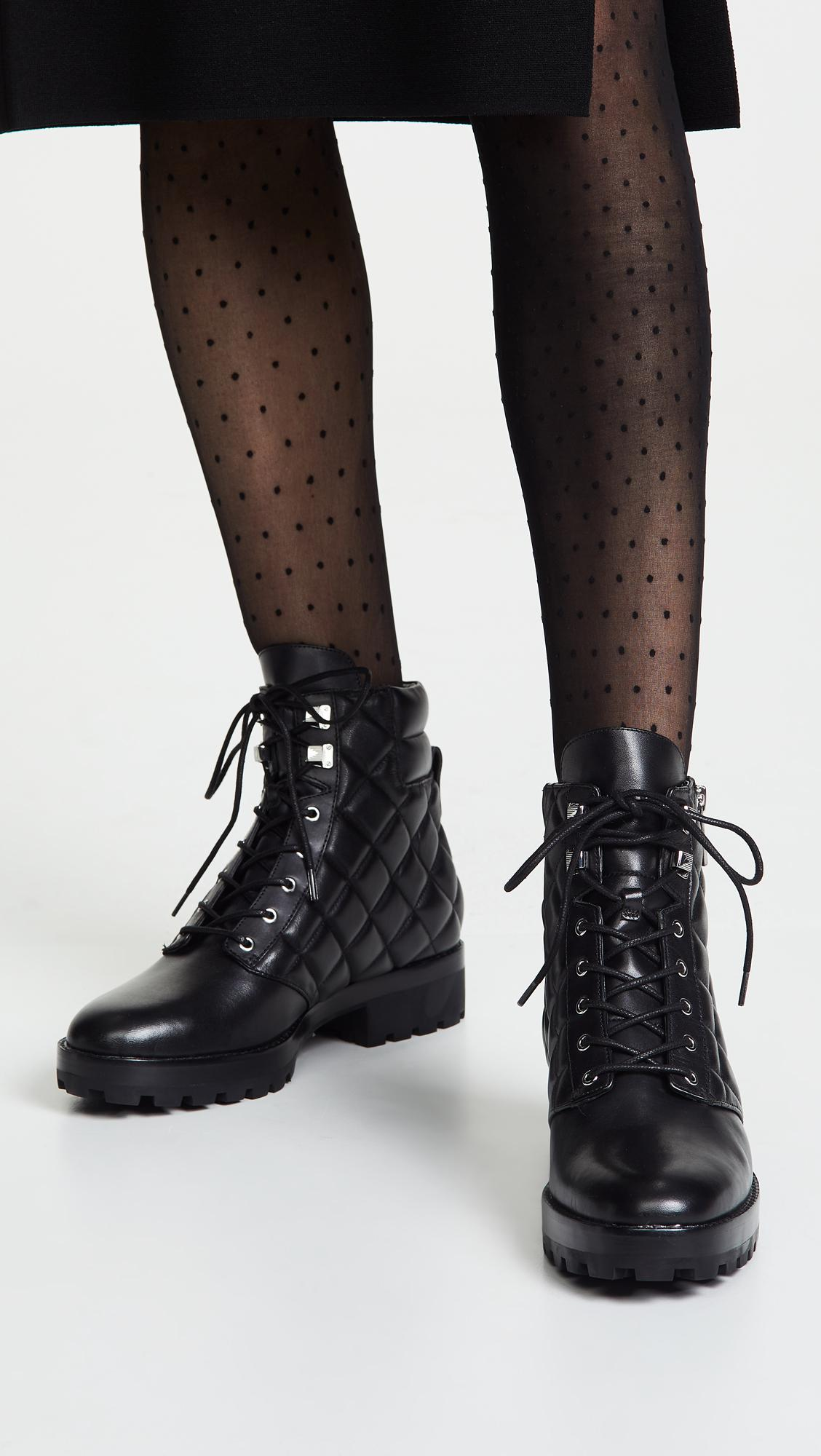 0f2cb3b5fcf MICHAEL Michael Kors Rosario Quilted Combat Boots in Black - Lyst