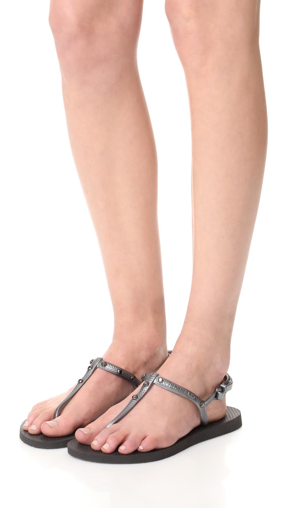 77fc5c9c34854 Havaianas Freedom Crystal Sandals in Black - Lyst