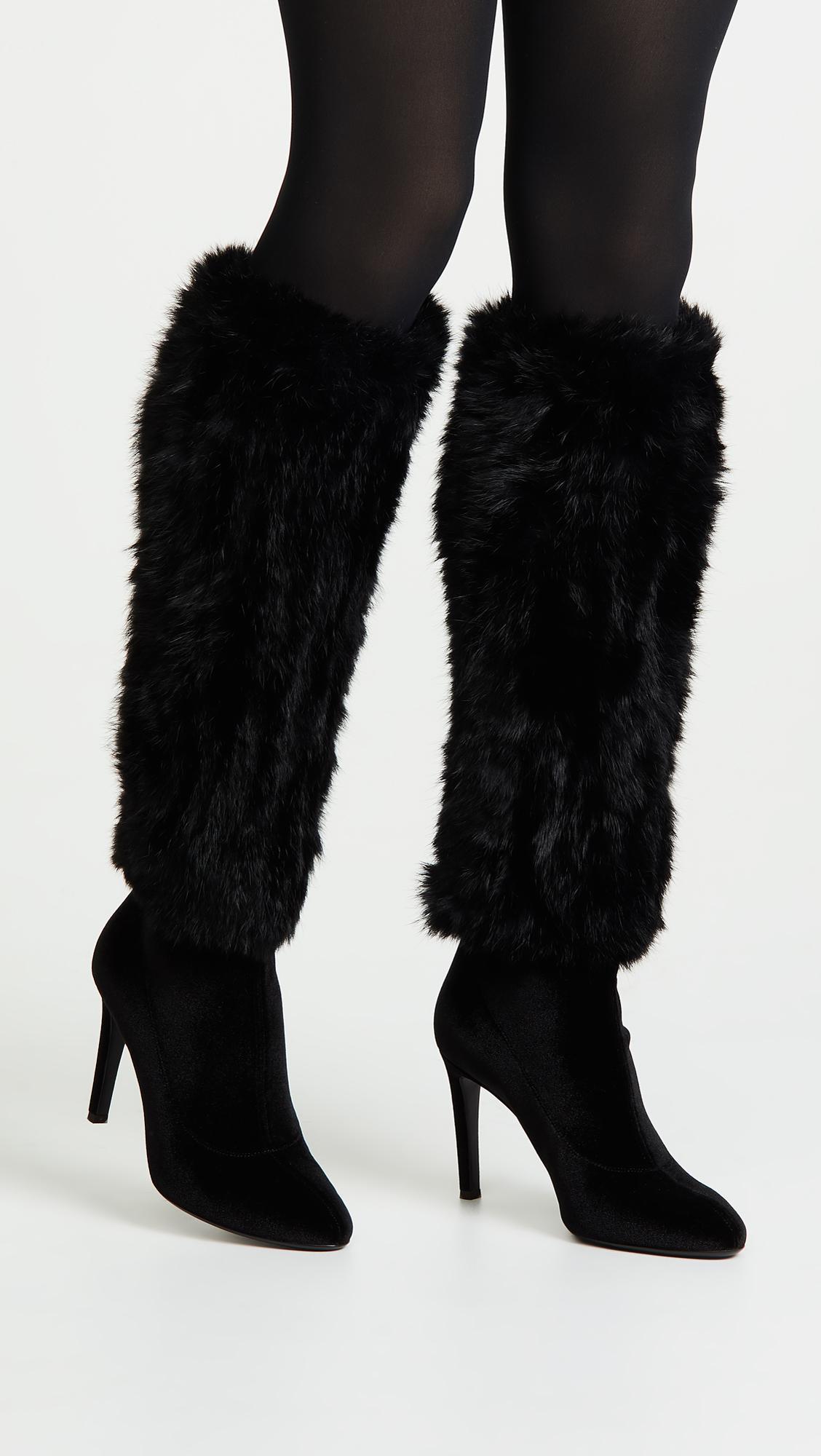 2a5a46661afc63 Giuseppe Zanotti - Black Velvet Knee Boots With Fur Trim - Lyst. View  fullscreen