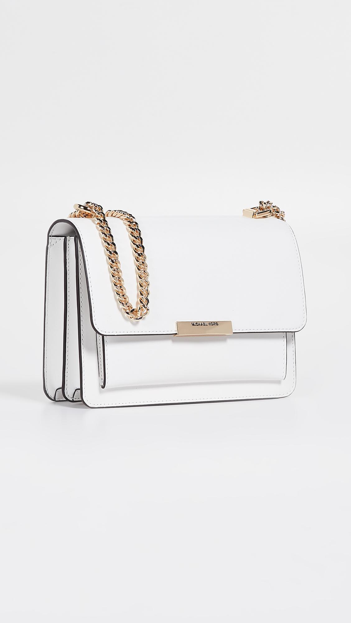 879ea07fe724 Lyst - MICHAEL Michael Kors Jade Large Gusset Shoulder Bag in White