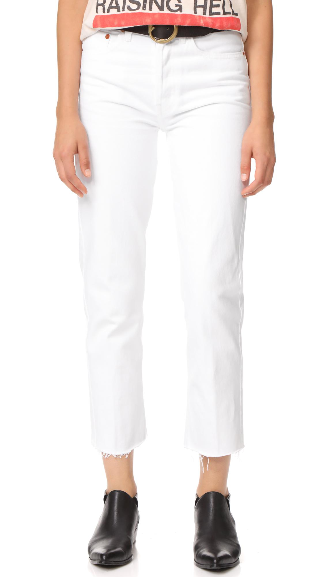 a1d480b98b61 Lyst - RE DONE High Rise Rigid Stovepipe Jeans in White