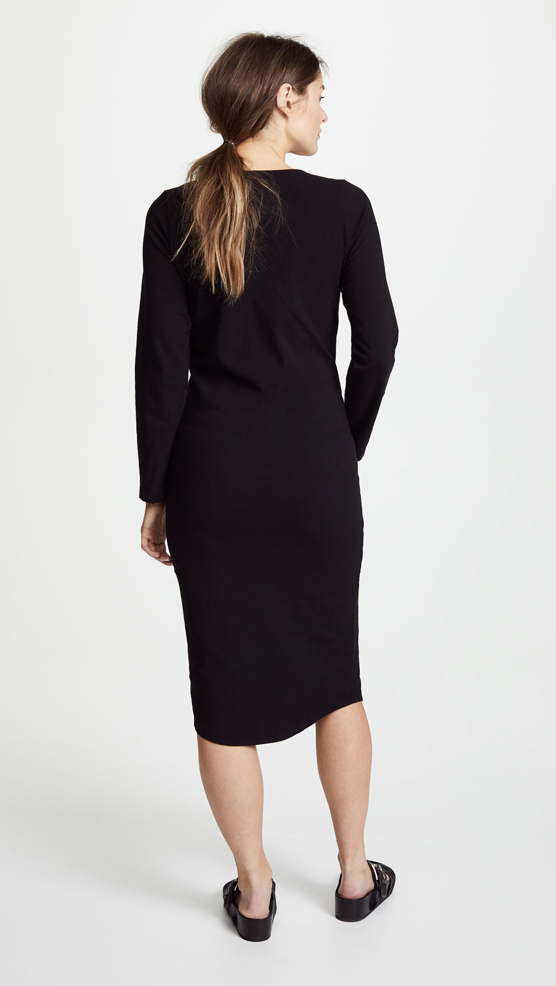 c68560b18ef Monrow Maternity Long Sleeve Dress in Black - Save 6.603773584905667 ...
