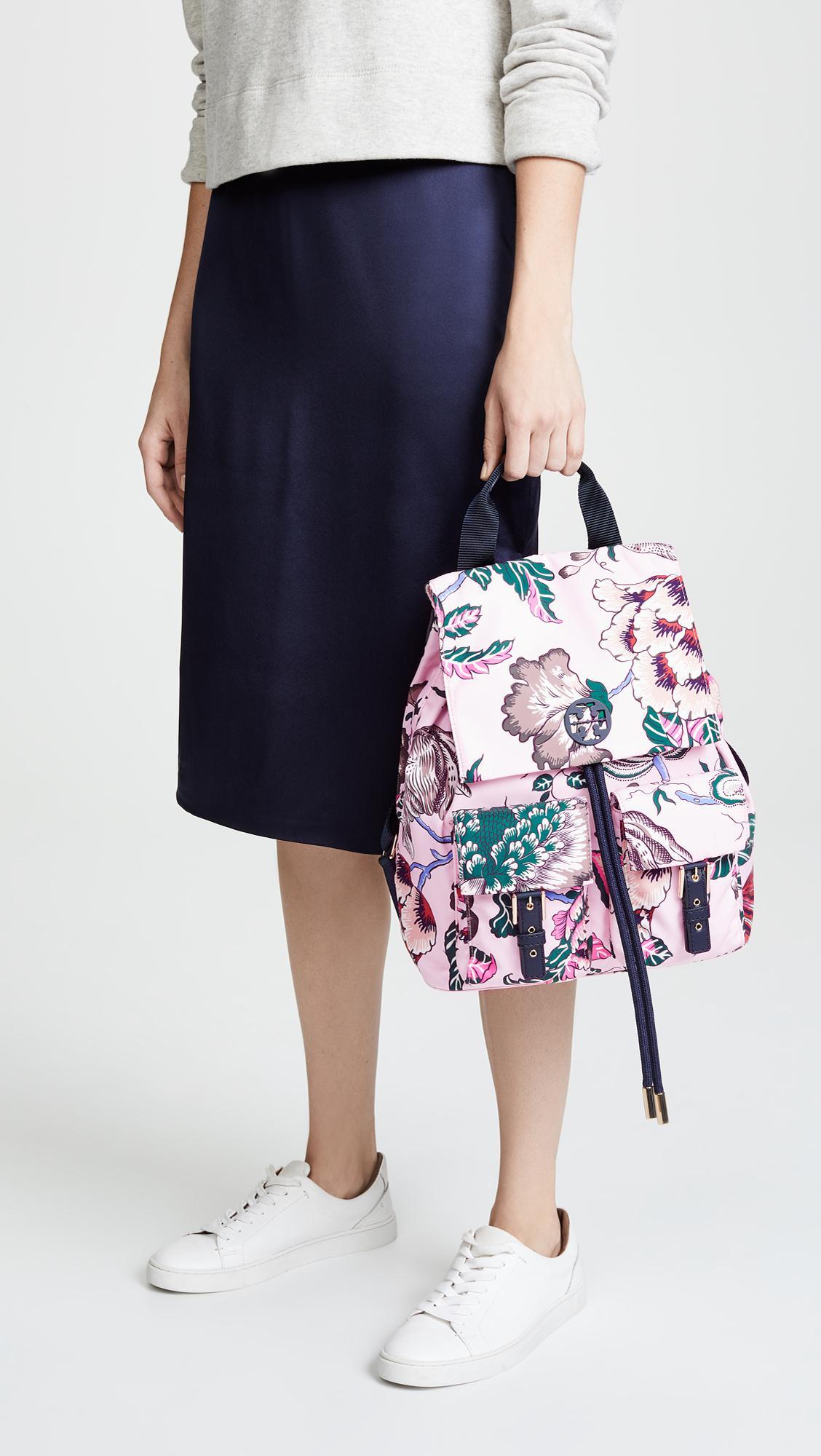 cbc65643670 Lyst - Tory Burch Tilda Printed Nylon Flap Backpack
