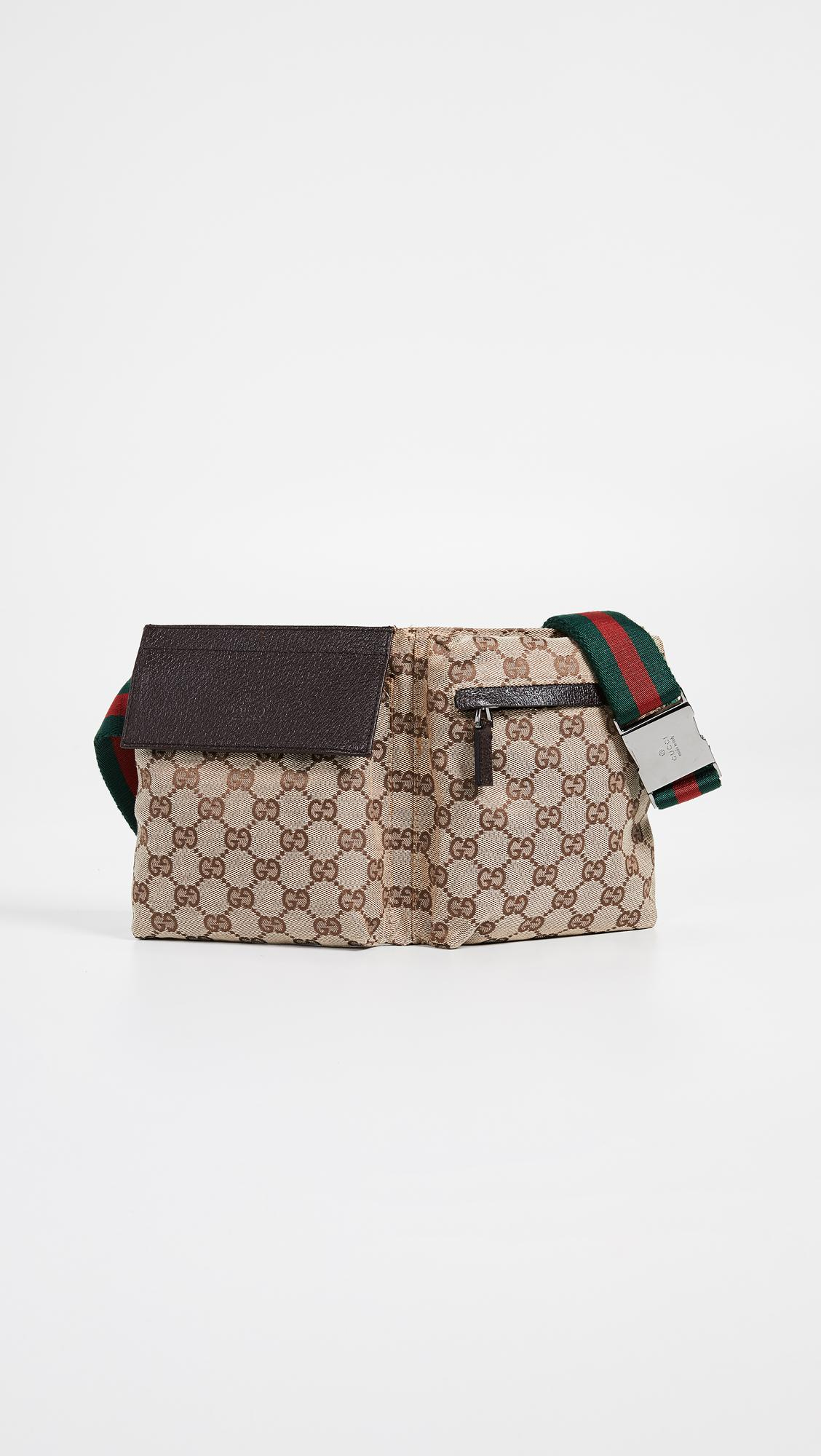 6eb7fb8b638e04 What Goes Around Comes Around Gucci Canvas Waist Pouch in Brown - Lyst