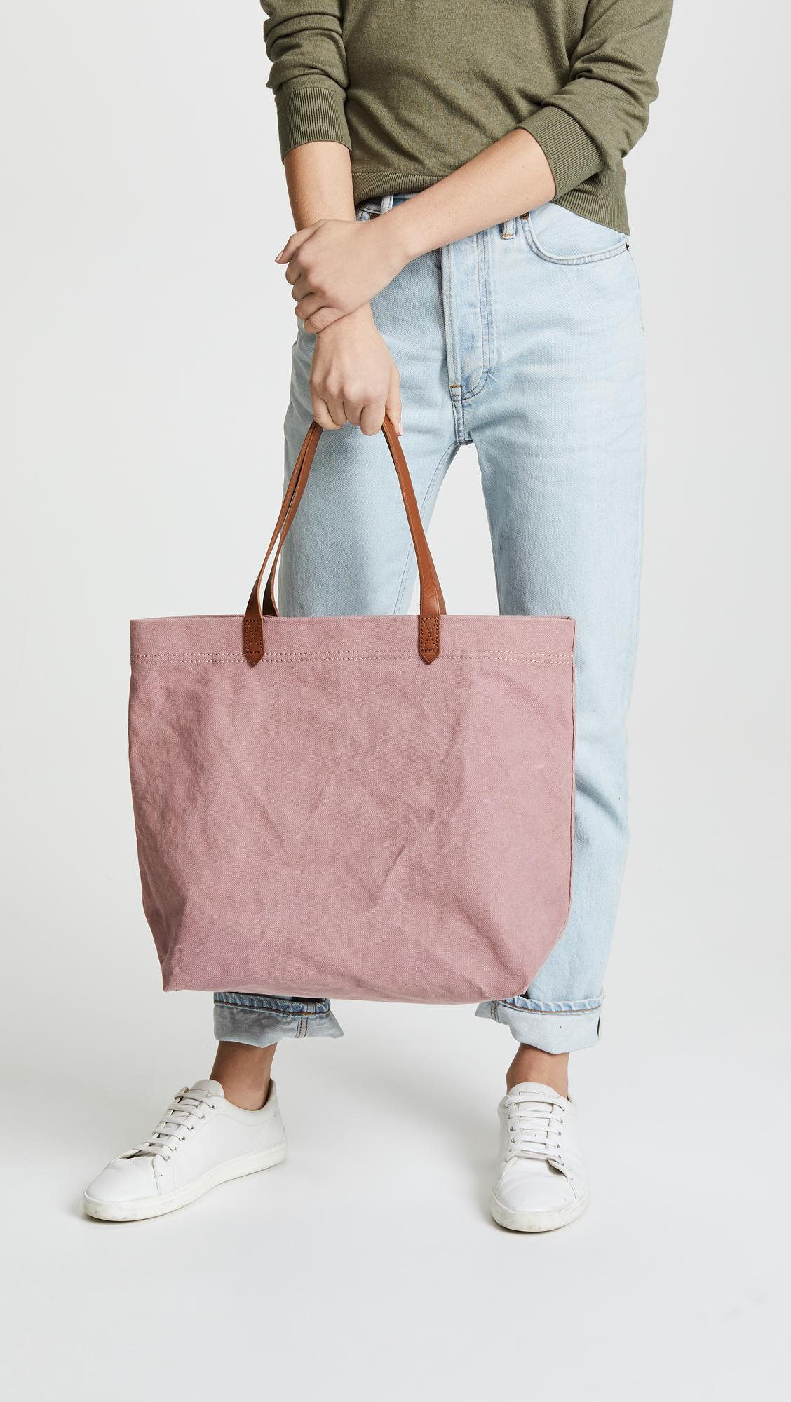 544482472 Madewell Canvas Transport Tote in Pink - Lyst