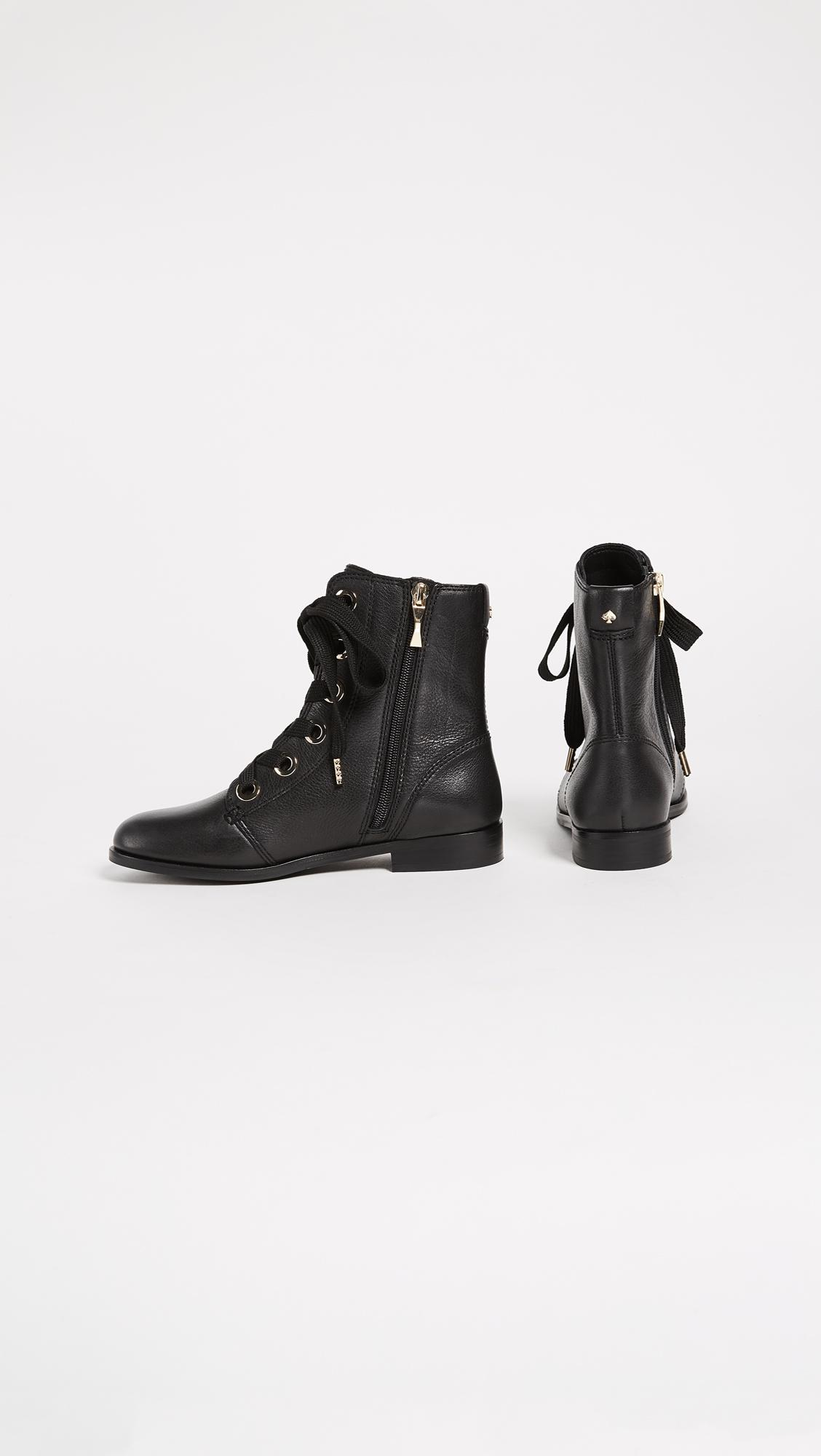 Lyst Kate Spade Raquel Lace Up Combat Boots In Black