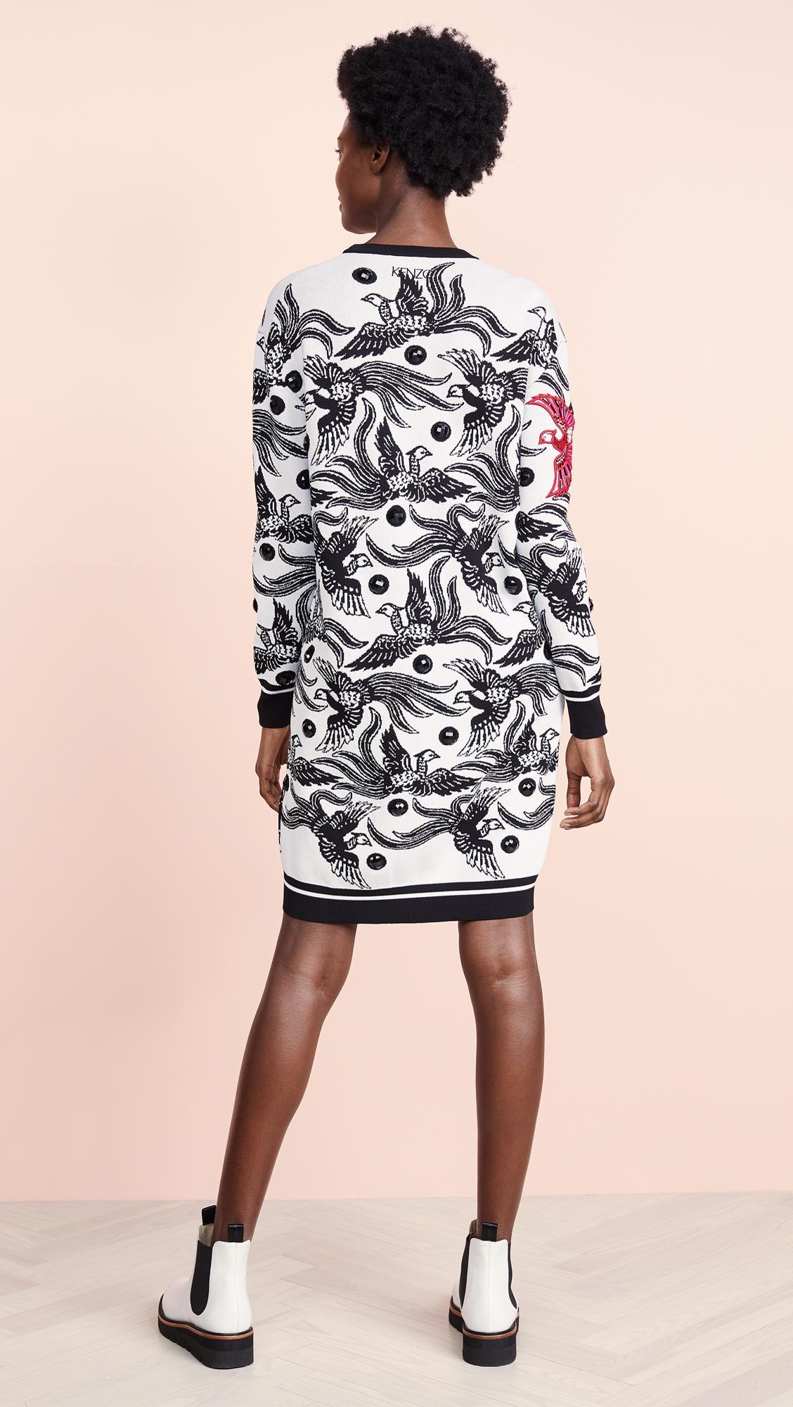 ce7ae4ec81e KENZO - Multicolor Phoenix Jacquard Sweater Dress - Lyst. View fullscreen
