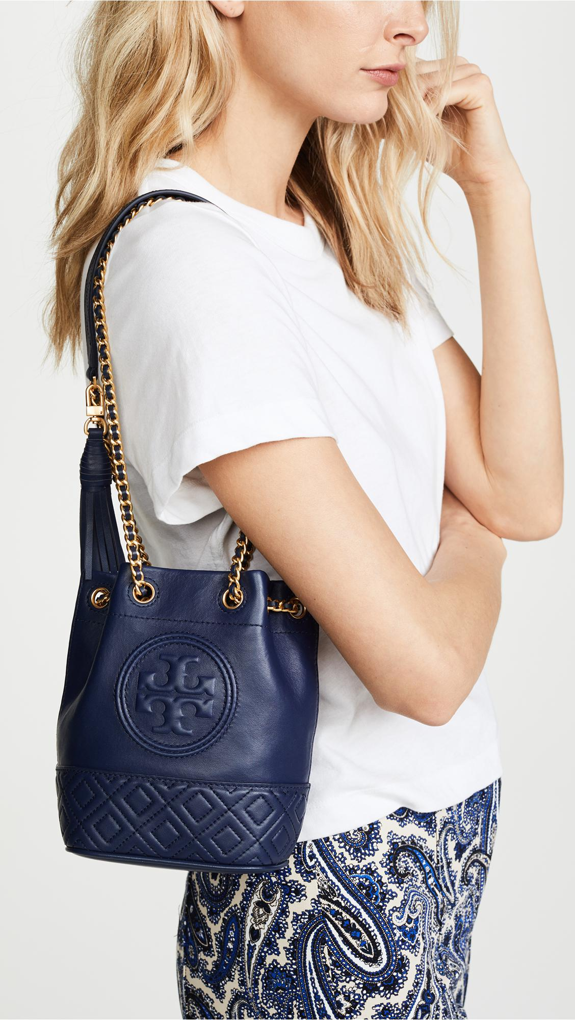 f09bf264250 Lyst - Tory Burch Fleming Mini Navy Leather Bucket Bag in Blue