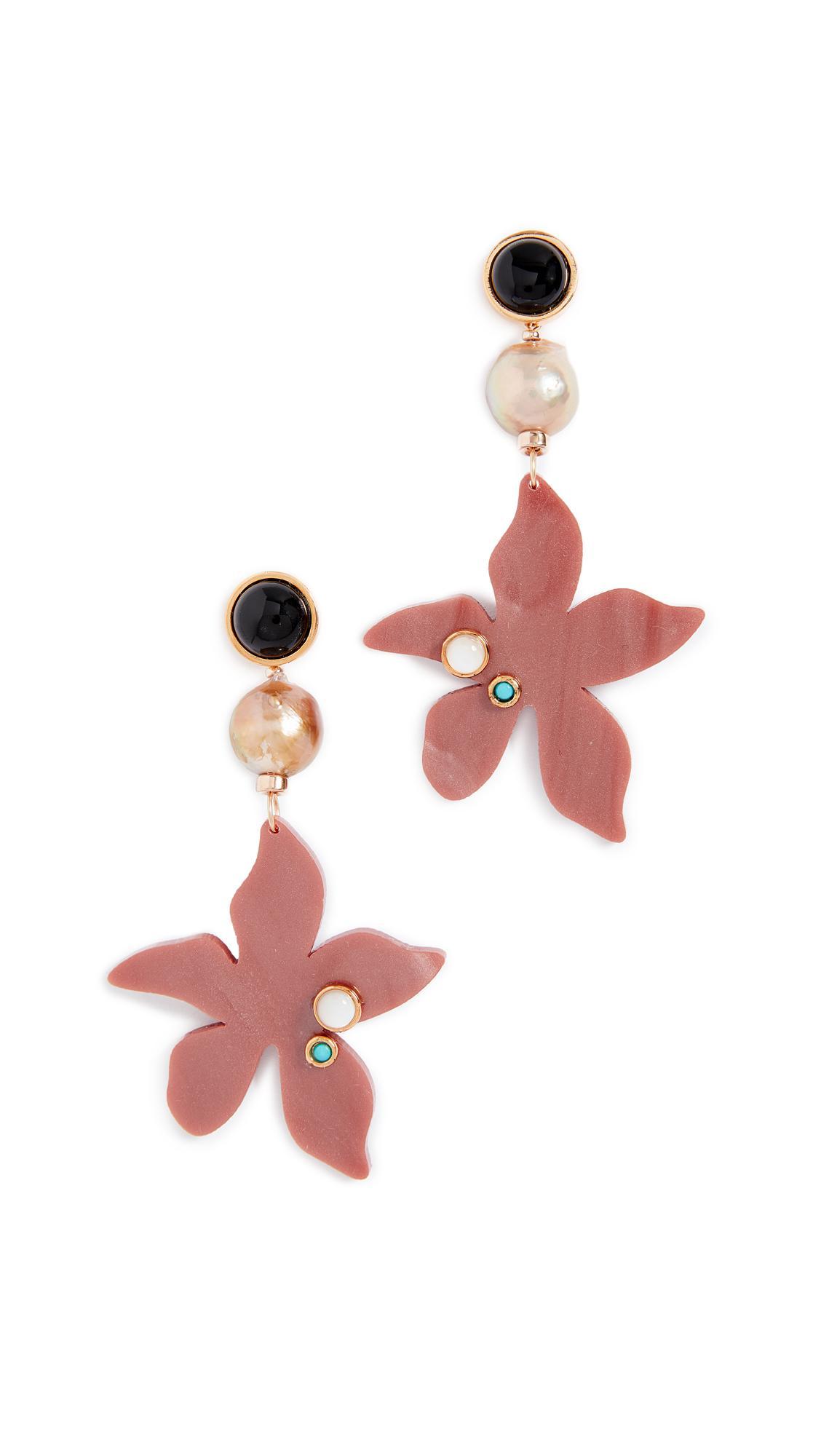 Portugal Poppy earrings - Pink & Purple Lizzie Fortunato yL017D