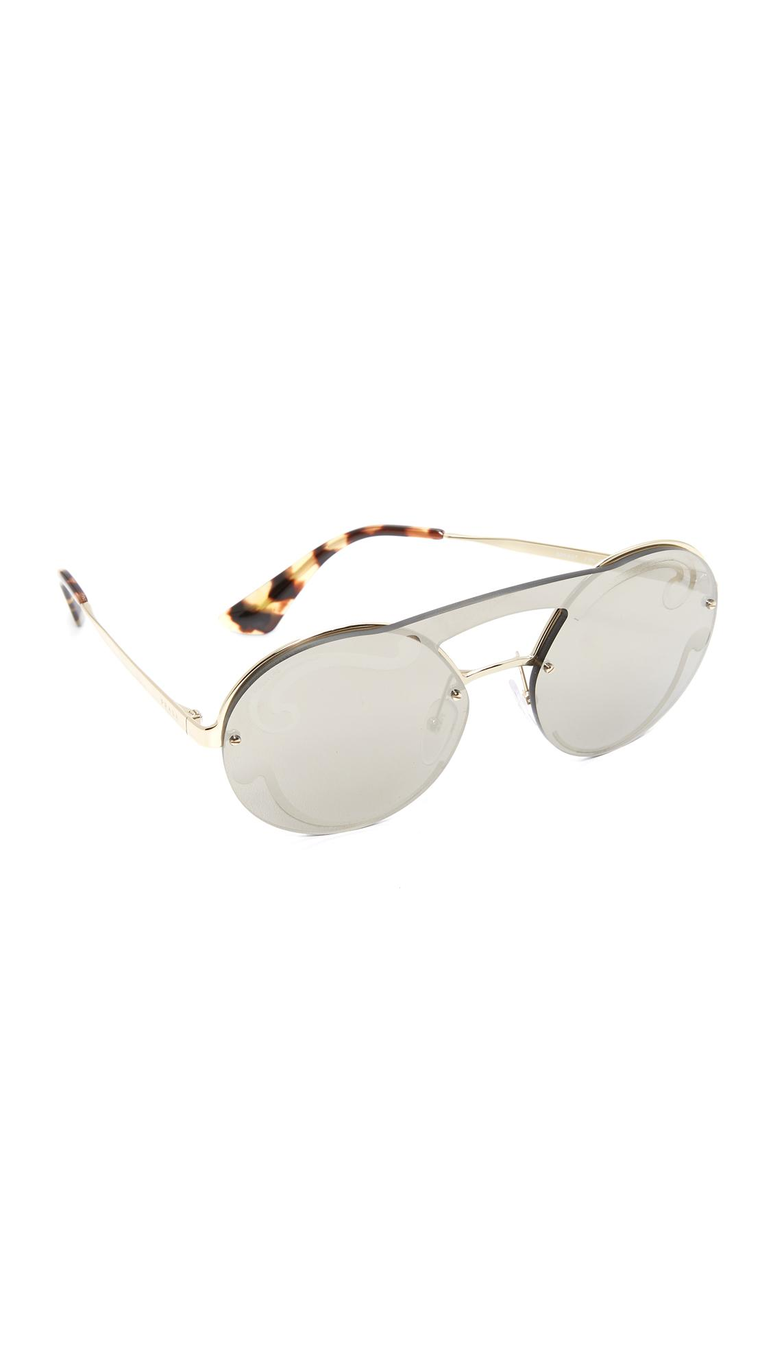 cab3870c191 ... france lyst prada cinema round brow bar sunglasses in metallic d73c2  3fe7b