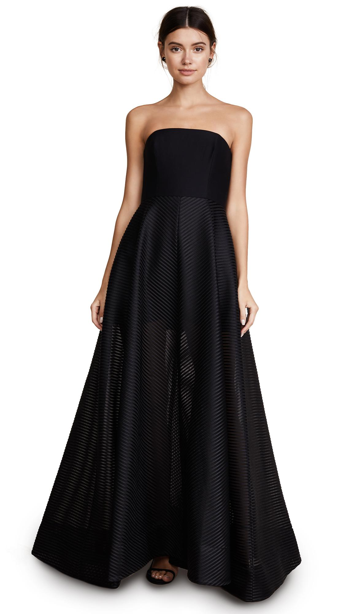 Lyst - Halston Heritage Strapless Gown With Sheer Striped ...