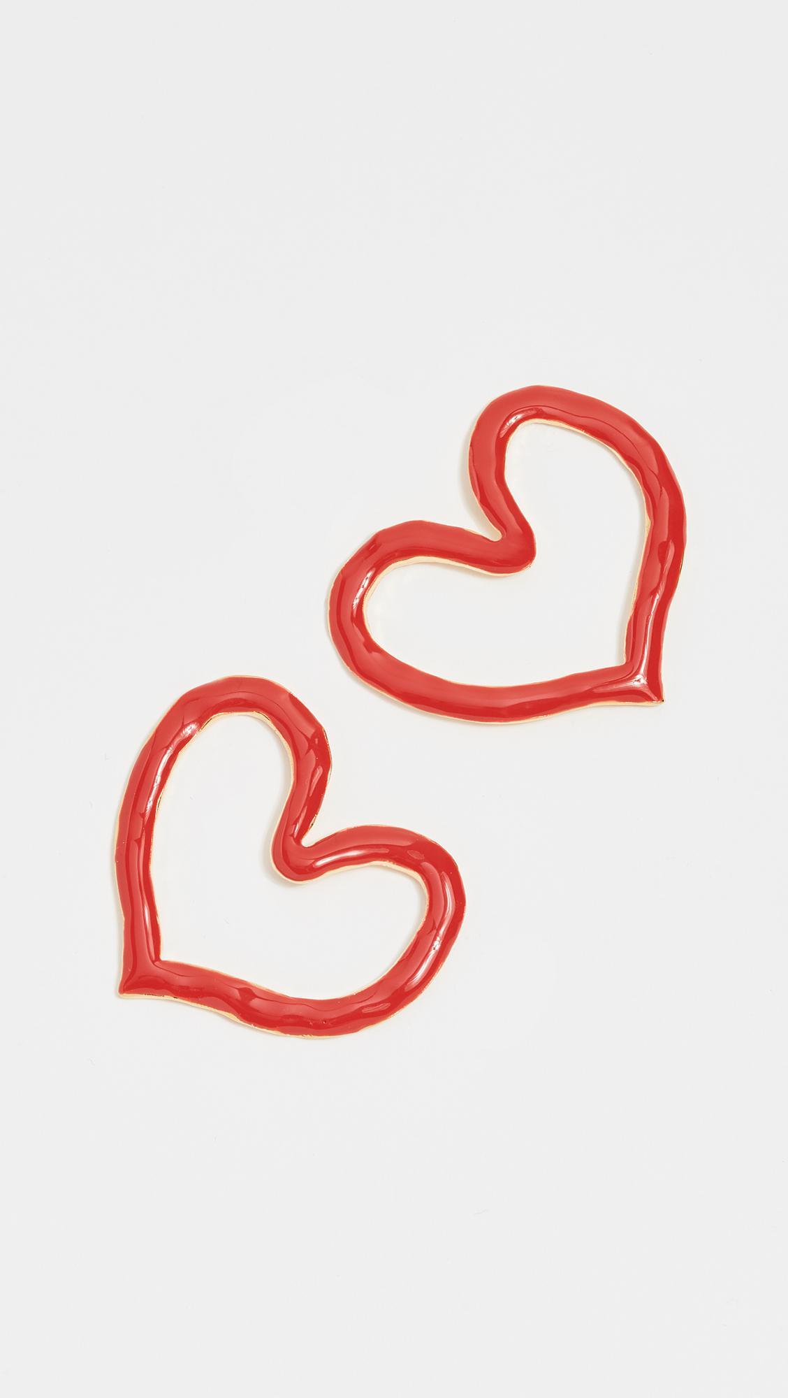 Oscar De La Renta Painted Heart Outline Earrings wYDRLcgcX