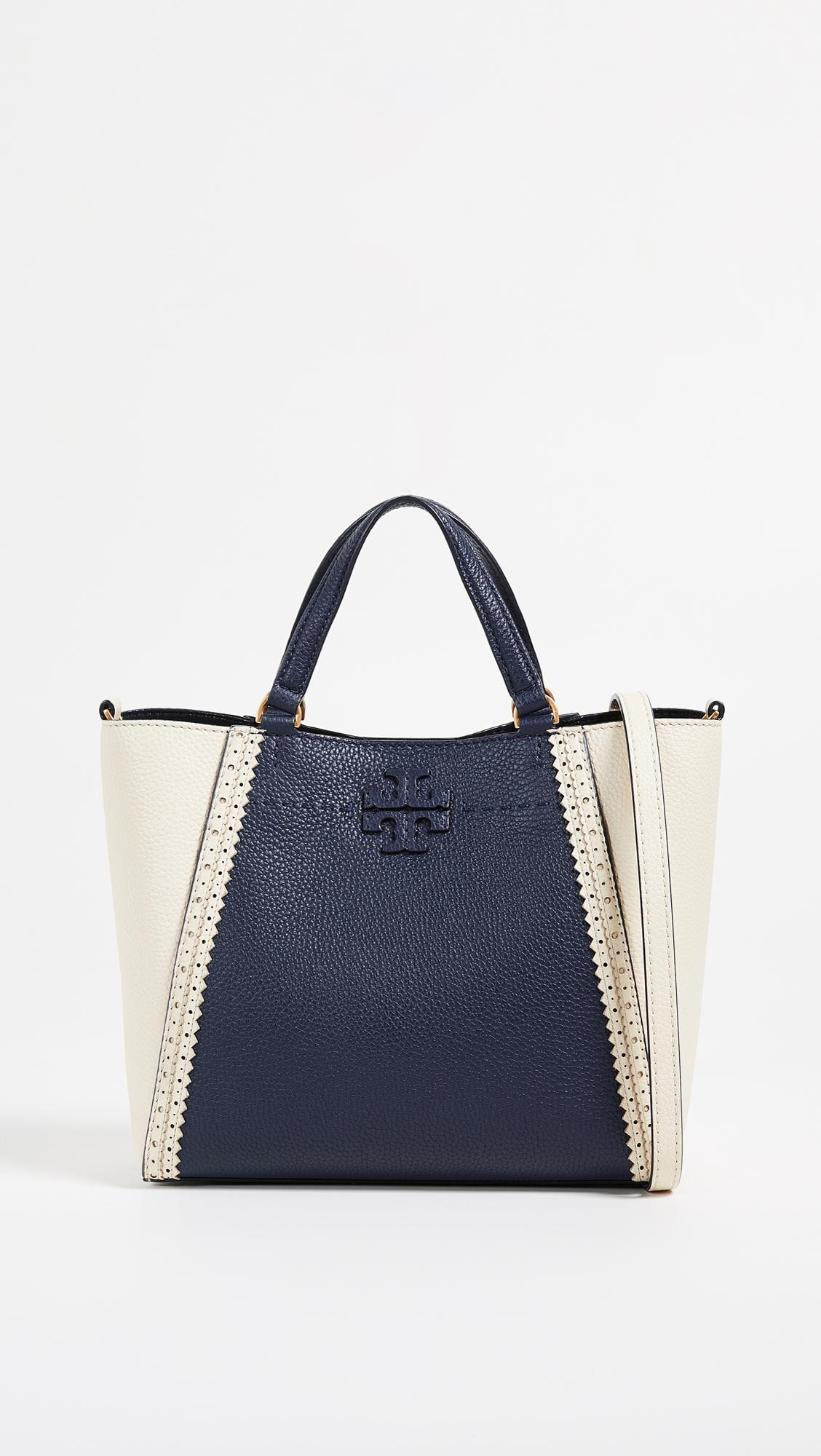 fbd25b137372 Lyst - Tory Burch Mcgraw Brogue Small Caryall Tote in Blue
