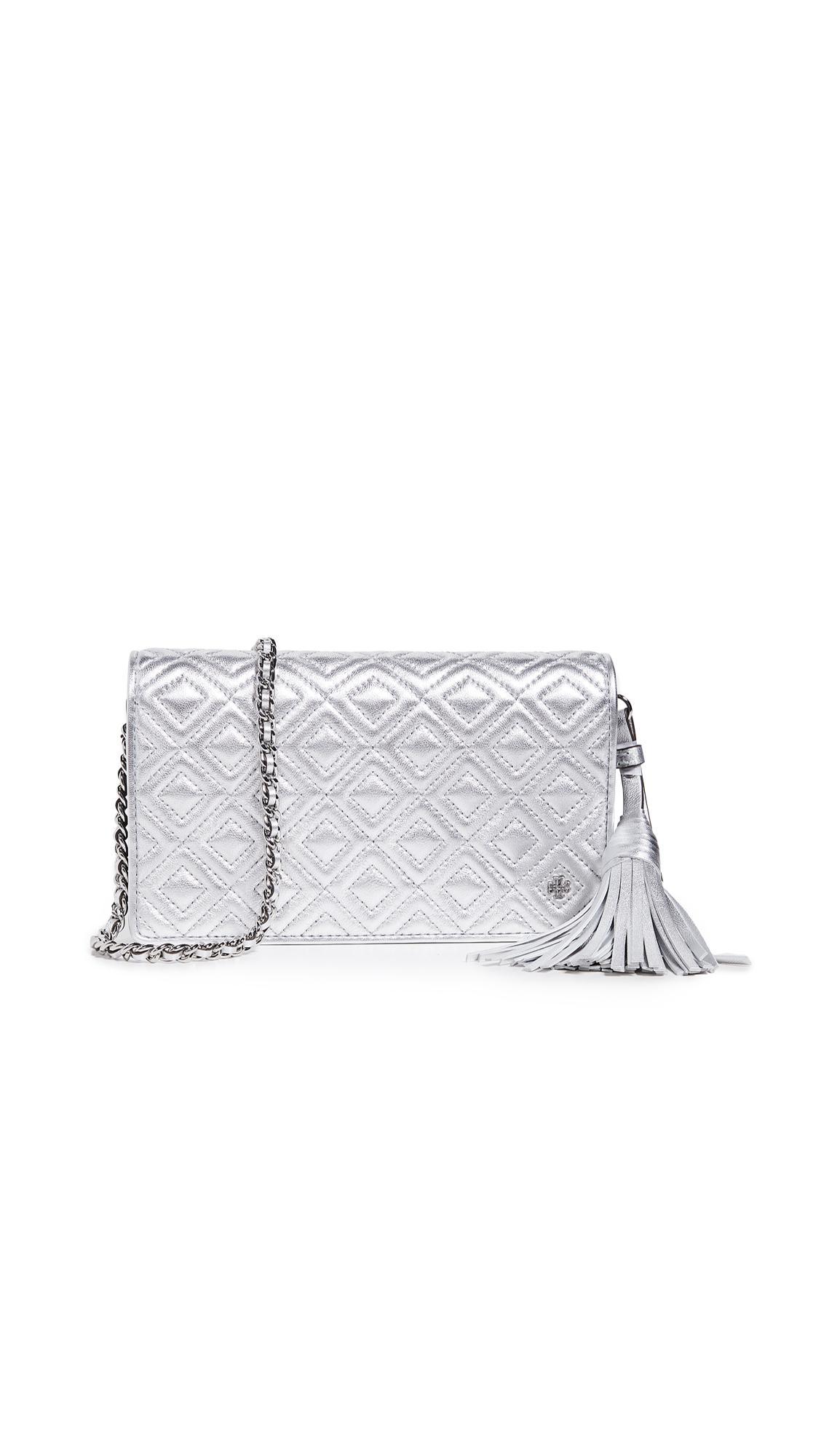 f5bd7b25ad6e Lyst - Tory Burch Fleming Metallic Flat Wallet Crossbody Bag in Metallic