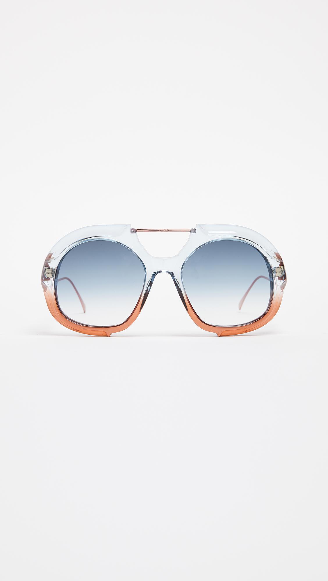 b68da9bb9cb Fendi Thick Aviator Sunglasses in Blue - Lyst