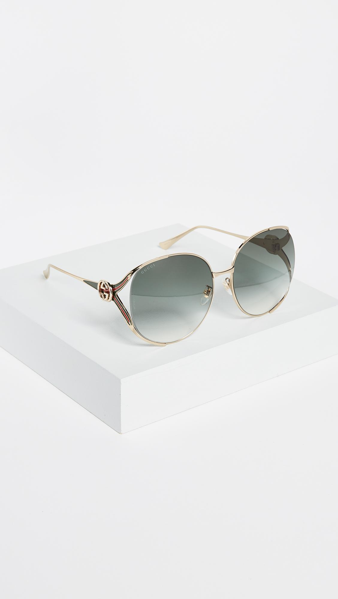 4c21a6c452f5 Lyst - Gucci Urban Folk Oval Sunglasses