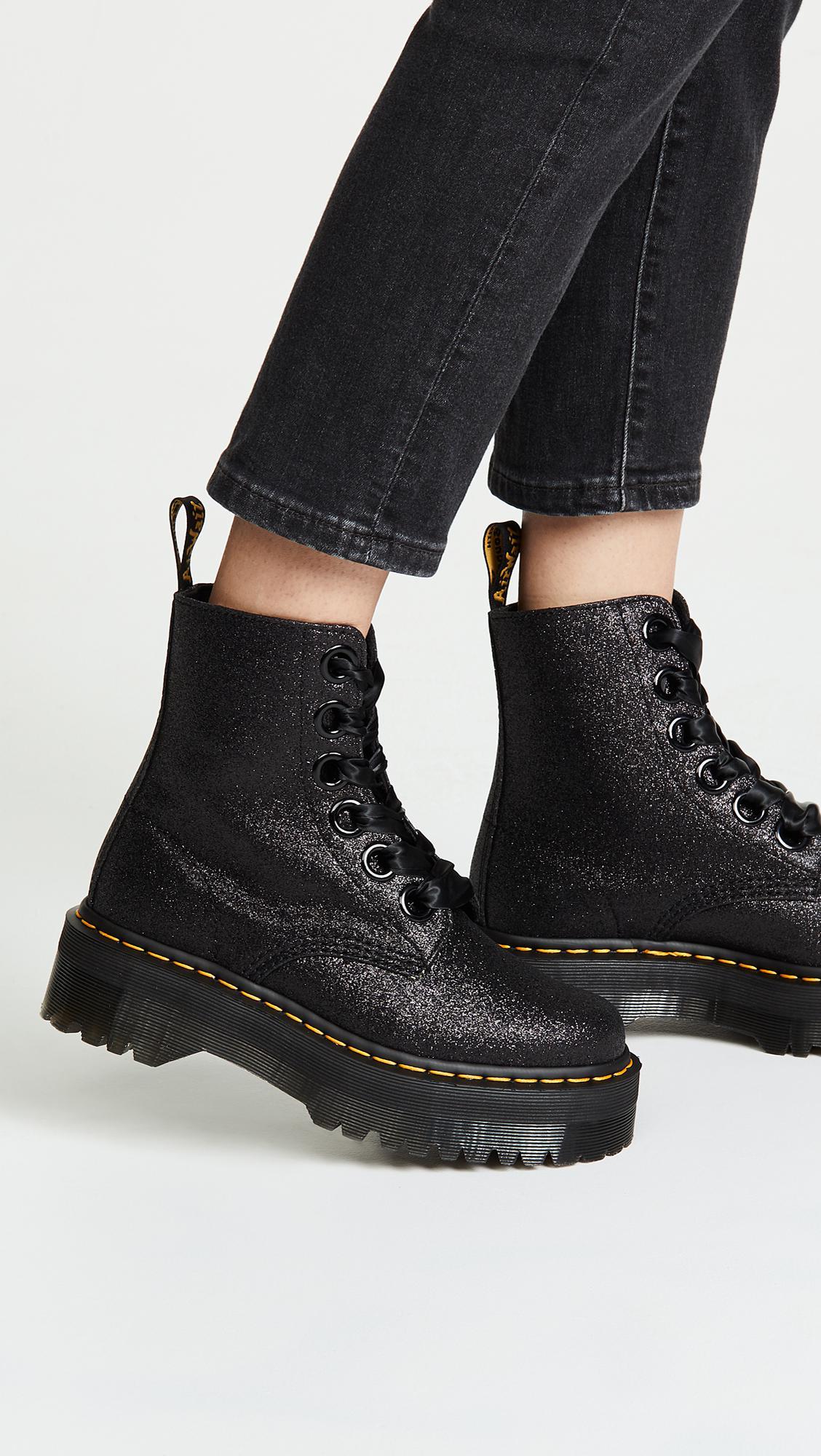 5f147e4f528d Lyst - Dr. Martens Molly Glitter 6 Eye Boots in Black