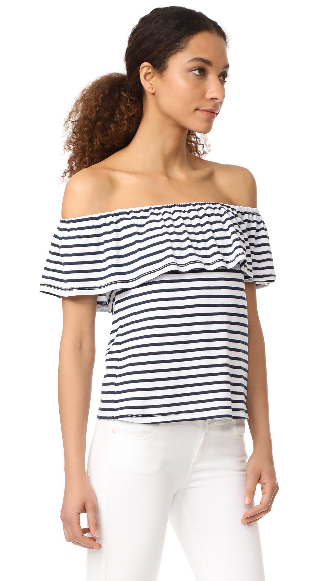 28673555951 Splendid 1x1 Venice Stripe Off Shoulder Top in White - Lyst