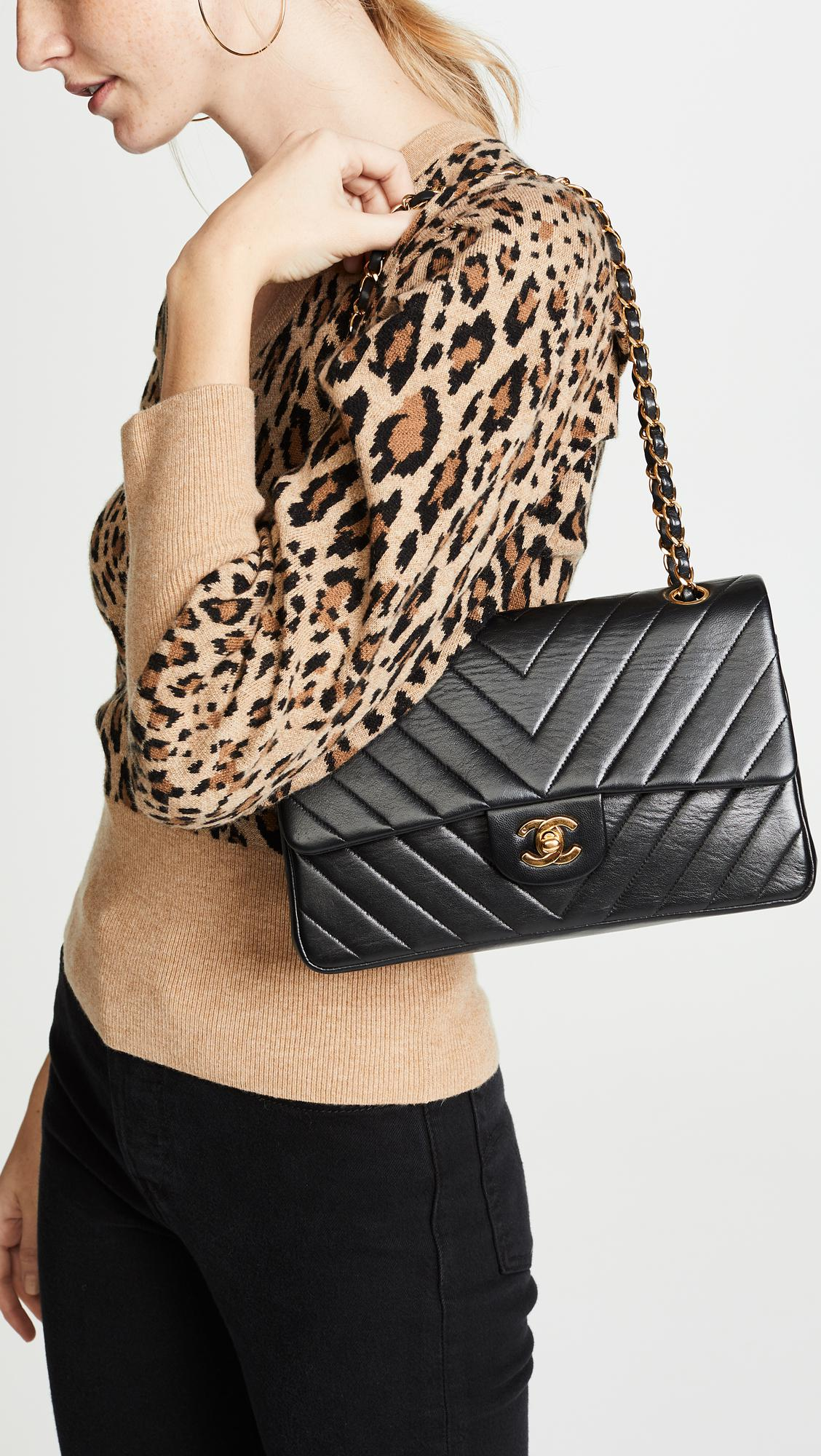2070d7203925 What Goes Around Comes Around - Black Chanel Chevron Flap Bag - Lyst. View  fullscreen