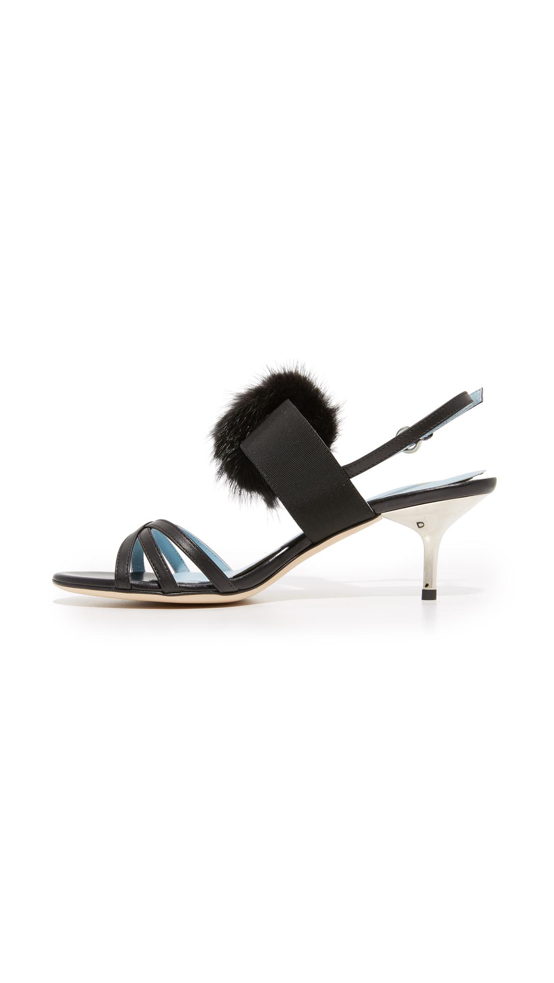 7315bea6ad30c Lyst - Frances valentine Lisette Fur Sandals in Black