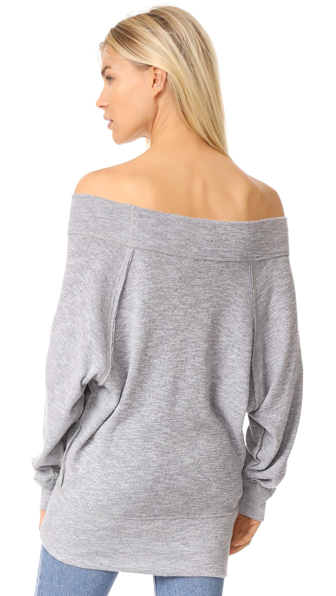 88865ceedc7 Free People Palisades Off Shoulder Top in Gray - Lyst