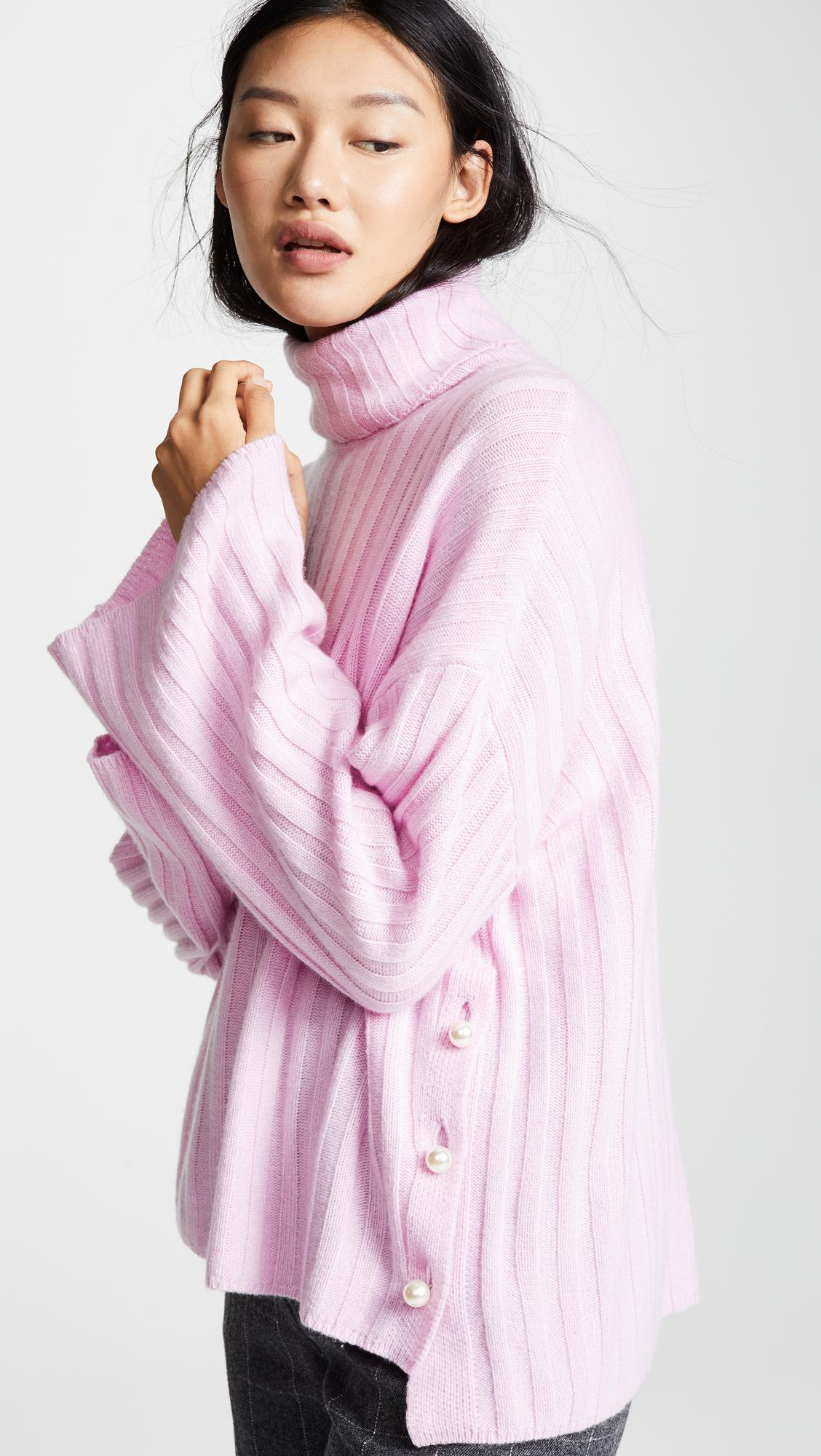 be87eb1563d MILLY Cashmere Oversized Sweater in Pink - Lyst