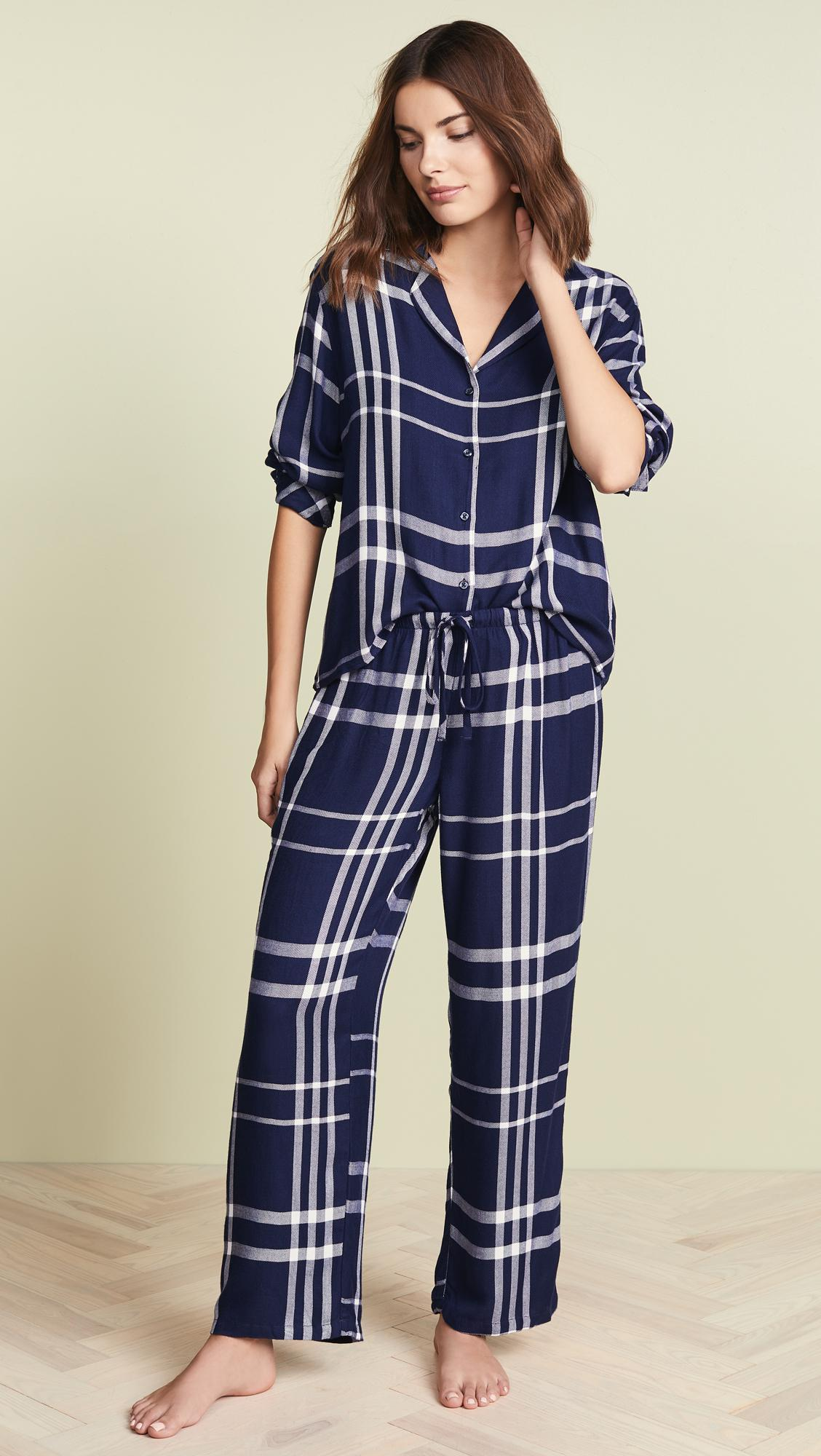 Rails Long Sleeve Trouser Pajama Set in Blue - Lyst 73c05c4ad