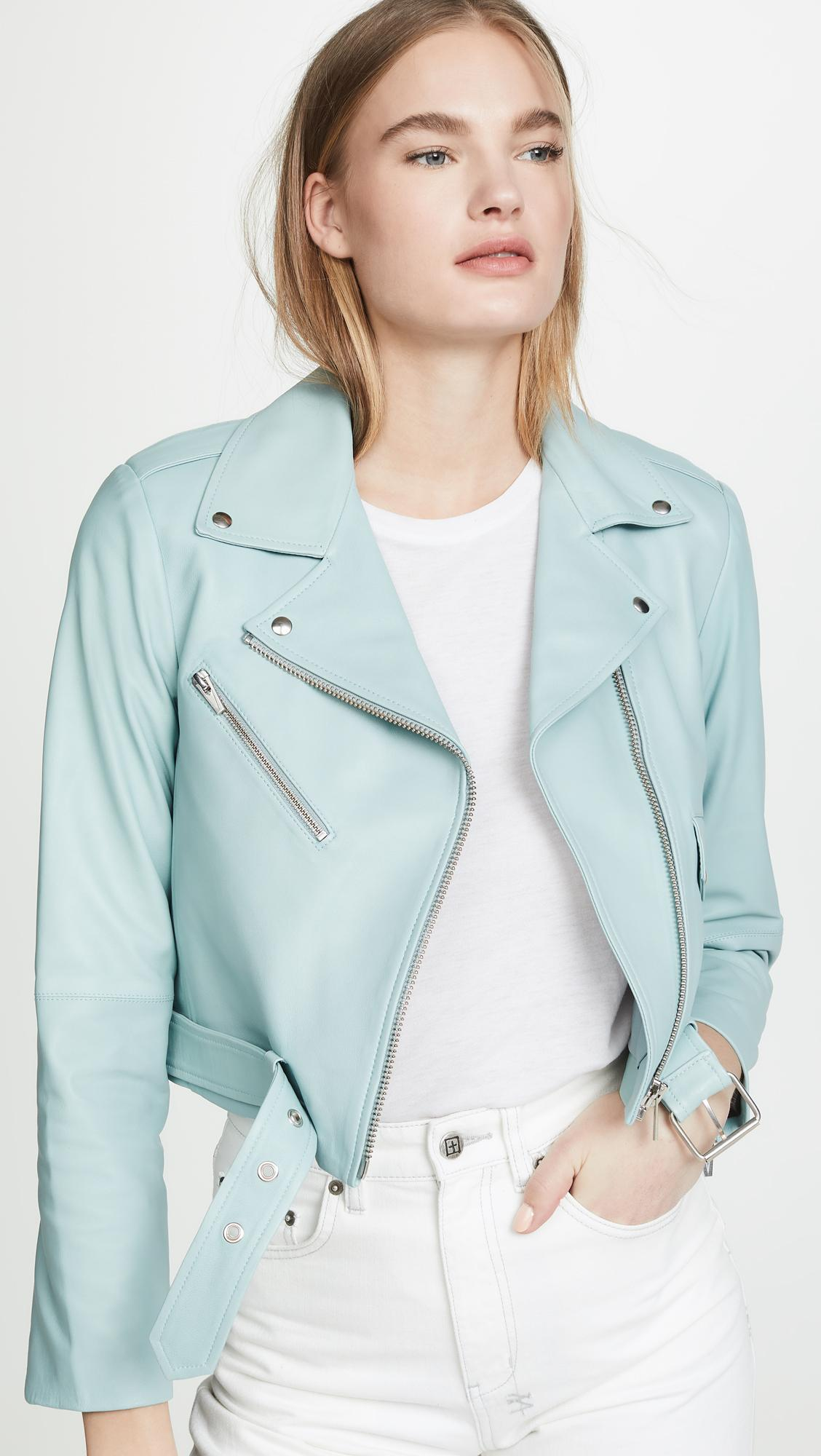 76b483fda Lyst - VEDA Baby Jane Smooth Leather Jacket in Blue